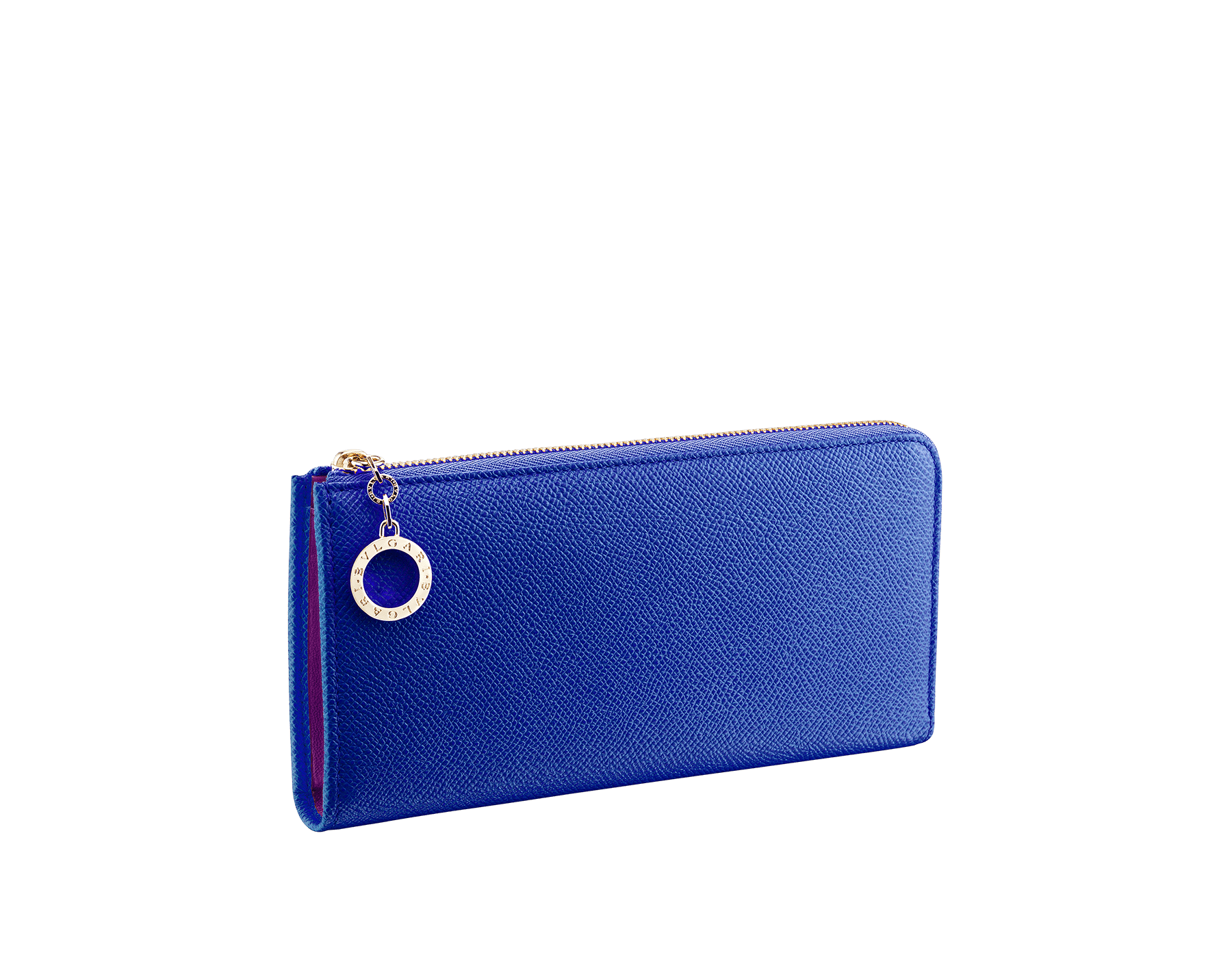 BVLGARI BVLGARI L-shaped zipped wallet in cobalt tourmaline bright grain calf leather and aster amethyst nappa. Iconic logo zip puller in light gold plated brass 579-WLT-MZP-SLIM-Lc image 1