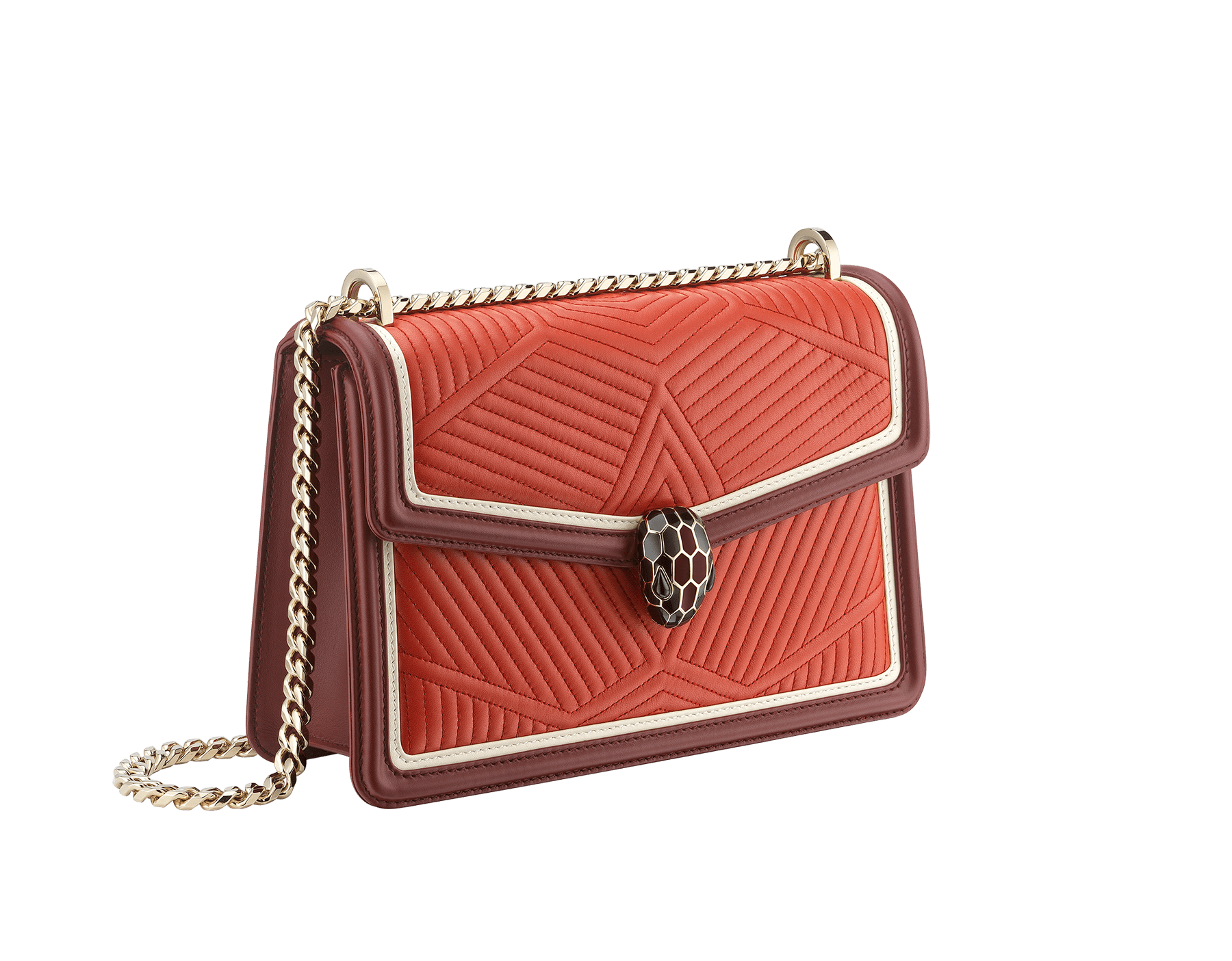 Serpenti Diamond Blast shoulder bag in imperial topaz quilted nappa leather with white agate and Roman garnet calf leather frames. Iconic snakehead closure in light gold plated brass embellished with Roman garnet and black enamel and black onyx eyes. 288827 image 2