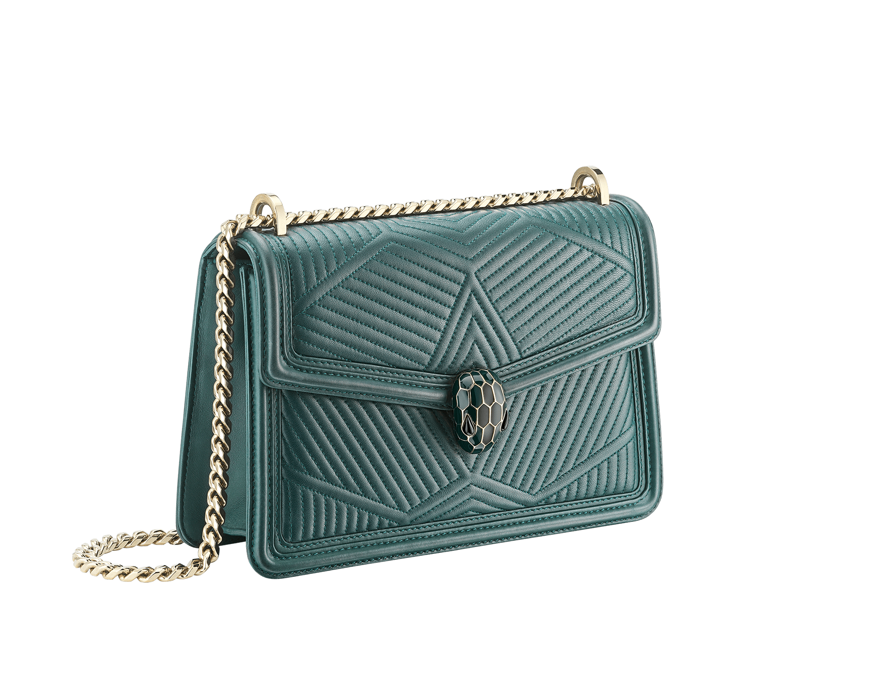 Serpenti Diamond Blast shoulder bag in forest emerald quilted nappa leather body and forest emerald calf leather frames. Snakehead closure in light gold plated brass decorated with forest emerald and black enamel, and black onyx eyes. 287850 image 2