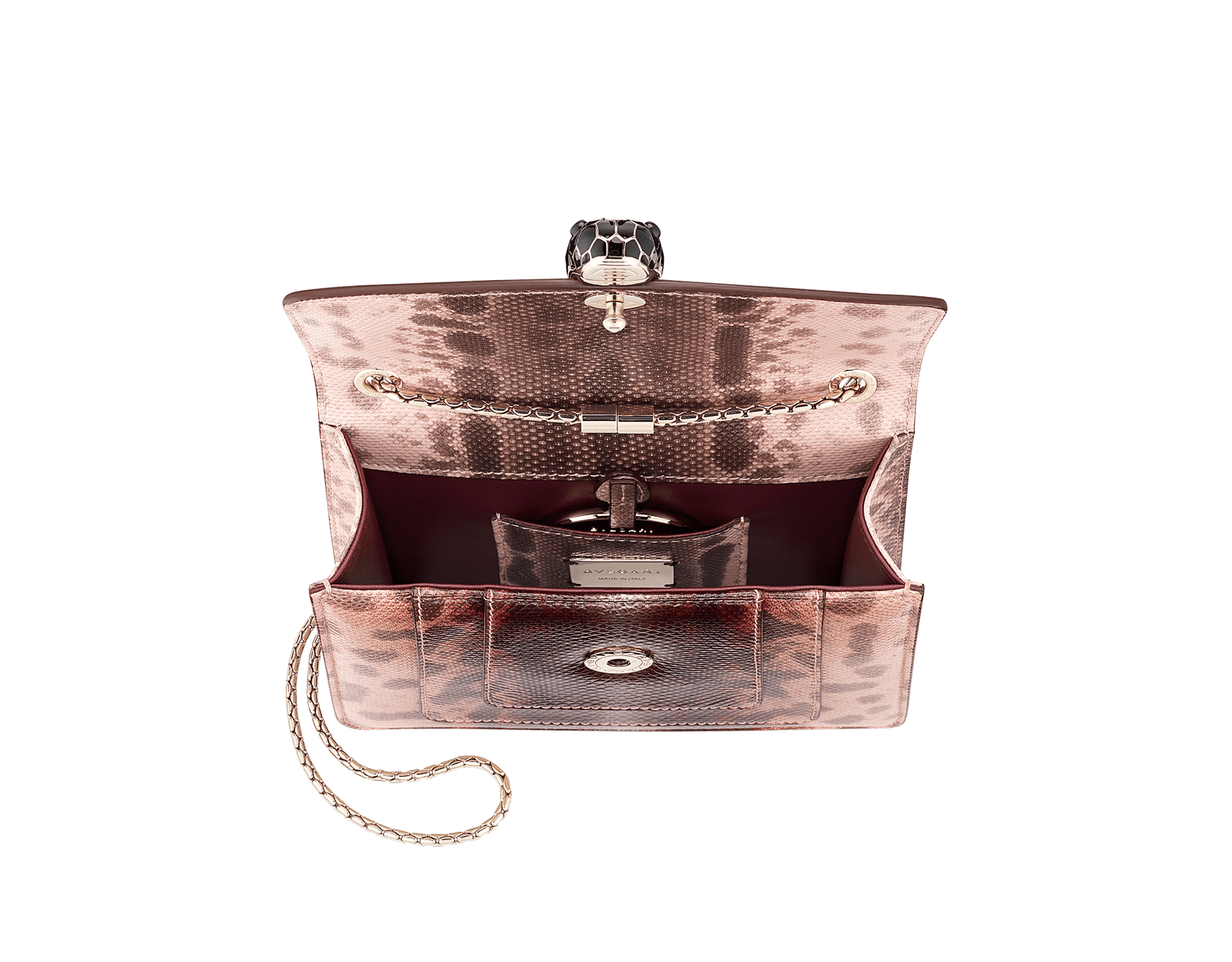 Serpenti Forever crossbody bag in rosa di francia Sahara karung skin. Iconic snakehead closure in light gold plated brass embellished with Roman garnet and black enamel and black onyx eyes. 289012 image 4