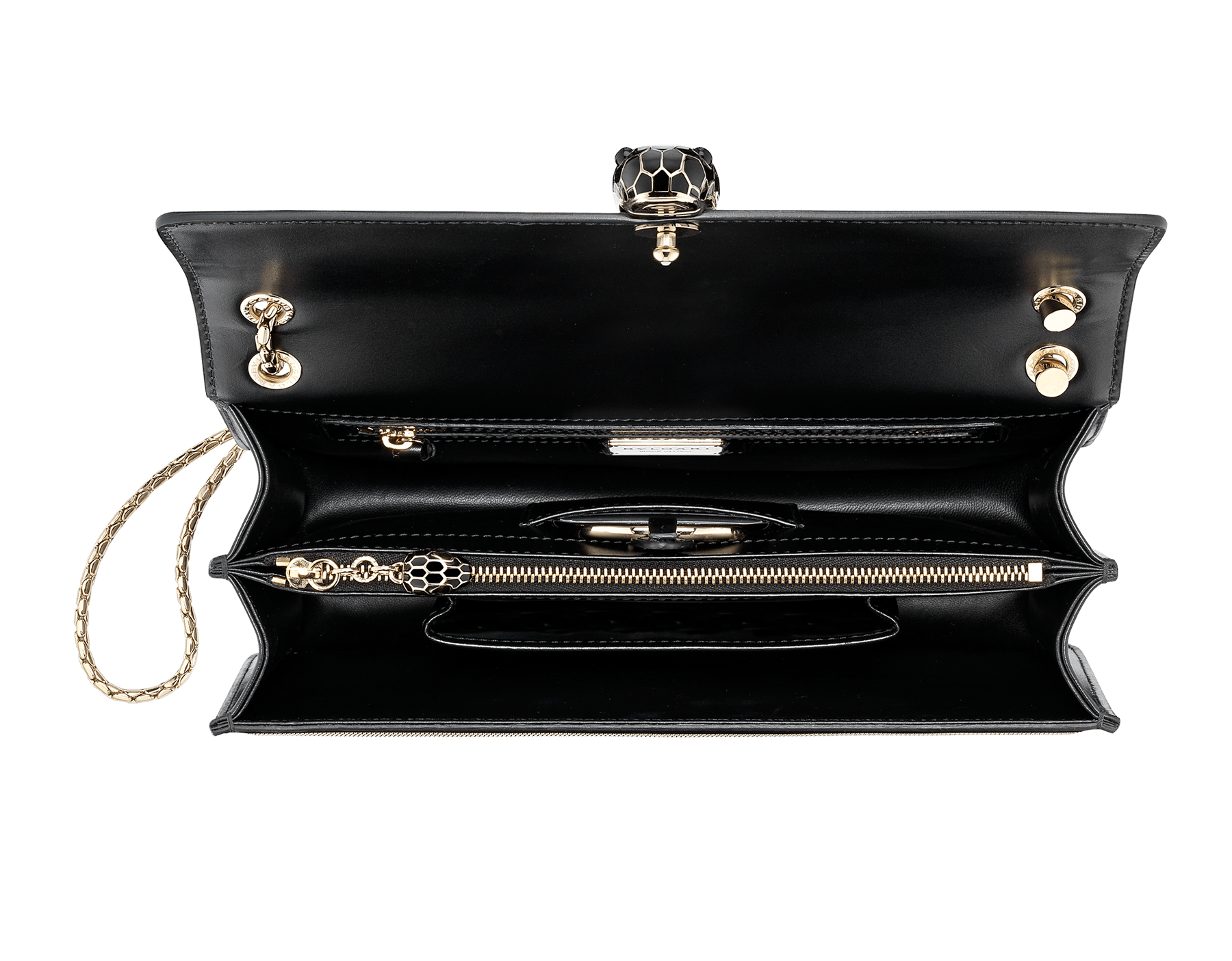 """Serpenti Forever"" shoulder bag in black calf leather and Million chain frame body and black calf leather sides. Iconic snake head closure in light gold plated brass enriched with black enamel and black onyx eyes. 521-GCP image 4"