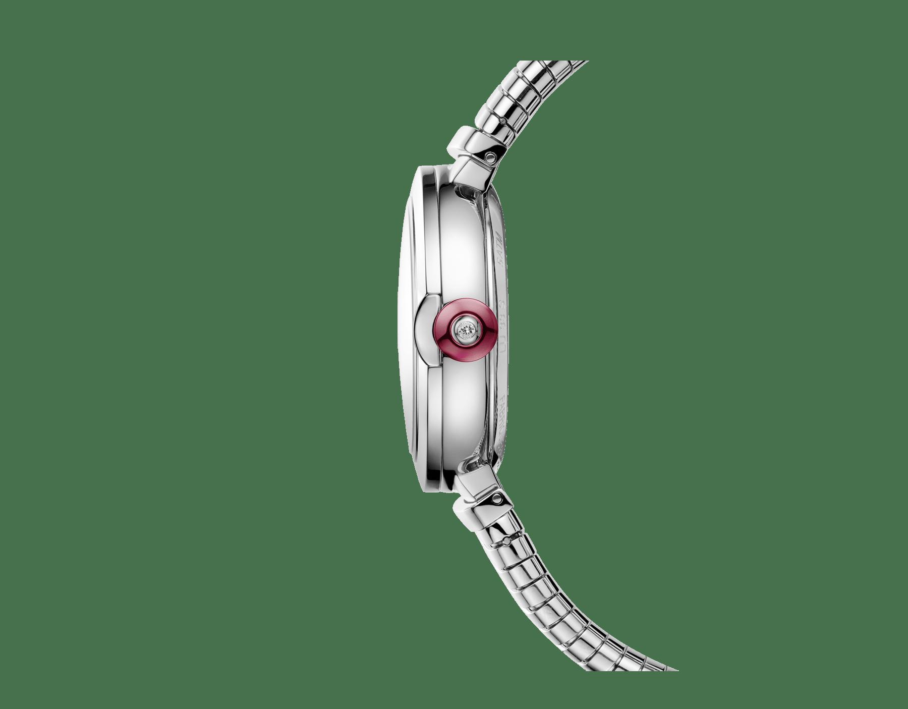Montre LVCEA Tubogas avec boîtier et bracelet Tubogas en acier inoxydable, cadran laqué noir et index sertis de diamants 102953 image 2