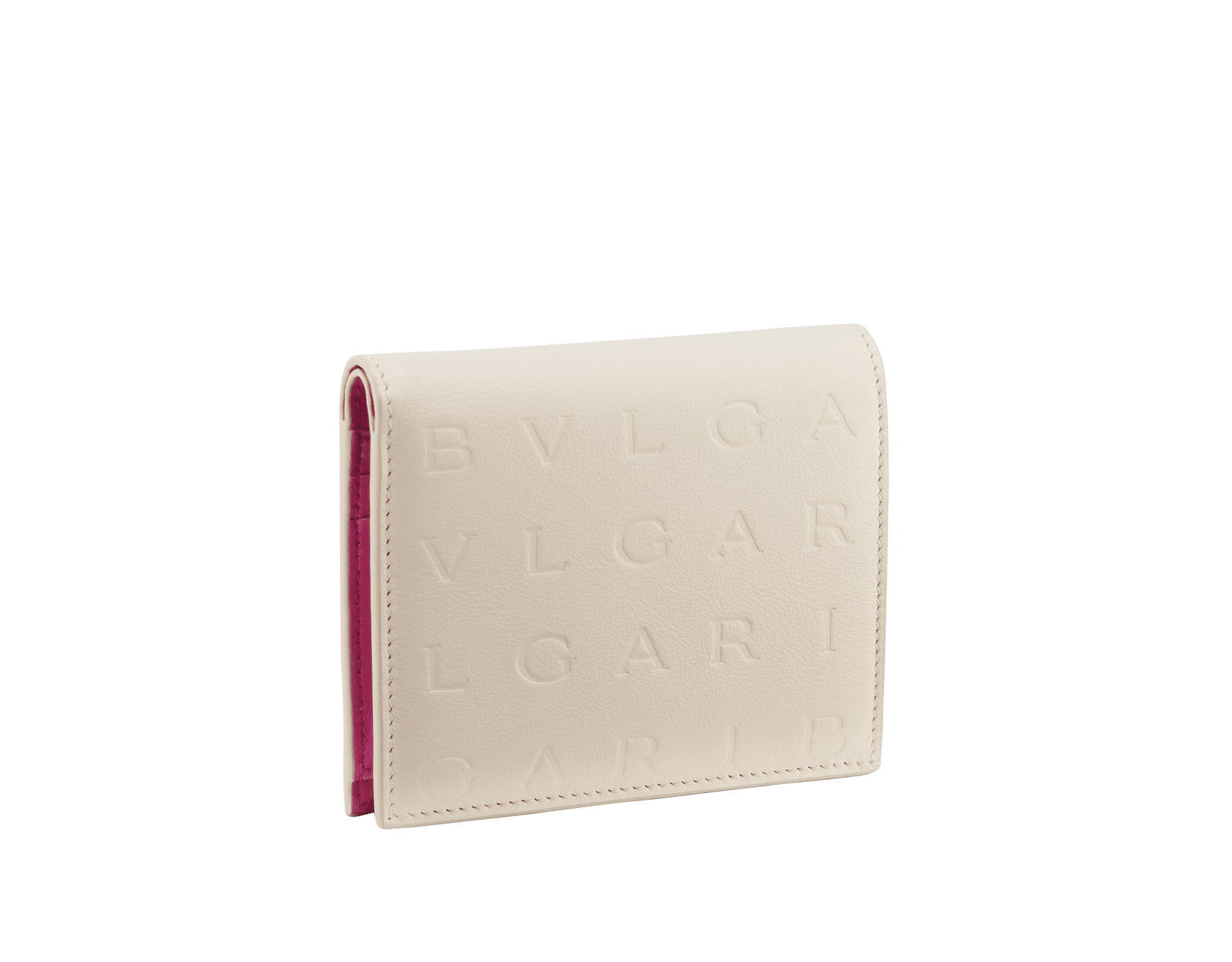 Bvlgari Logo compact wallet in Ivory Opal white calf leather with hot stamped Infinitum Bvlgari logo pattern and plain Pink Spinel nappa leather lining. Light gold-plated brass hardware BVL-COMPACTWLT image 1