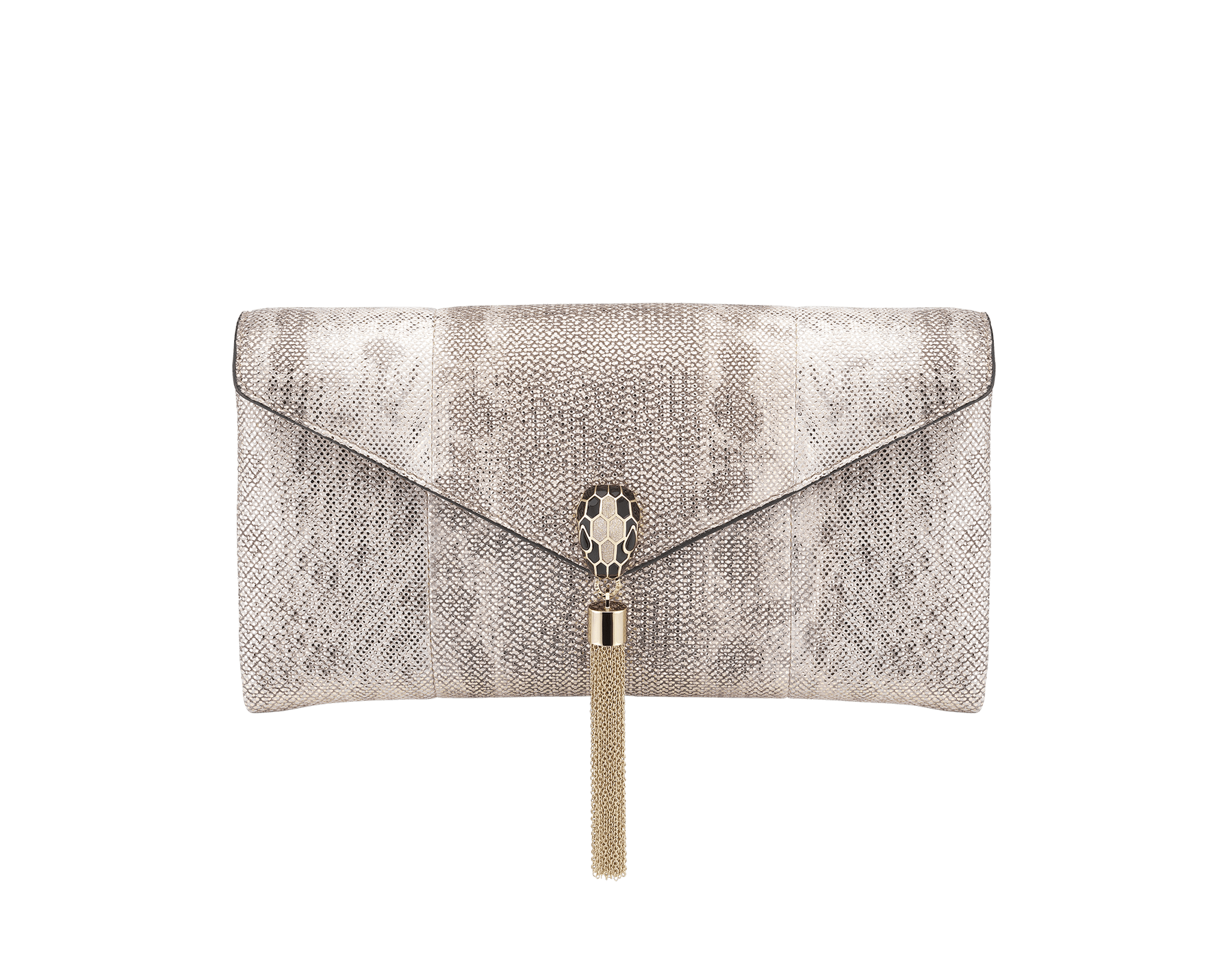 Serpenti evening clutch in milky opal metallic karung skin. Snakehead stud closure with tassel in light gold plated brass and top decorated with black and glitter milky opal enamel, and black onyx eyes. 526-001-0817S-MK image 1
