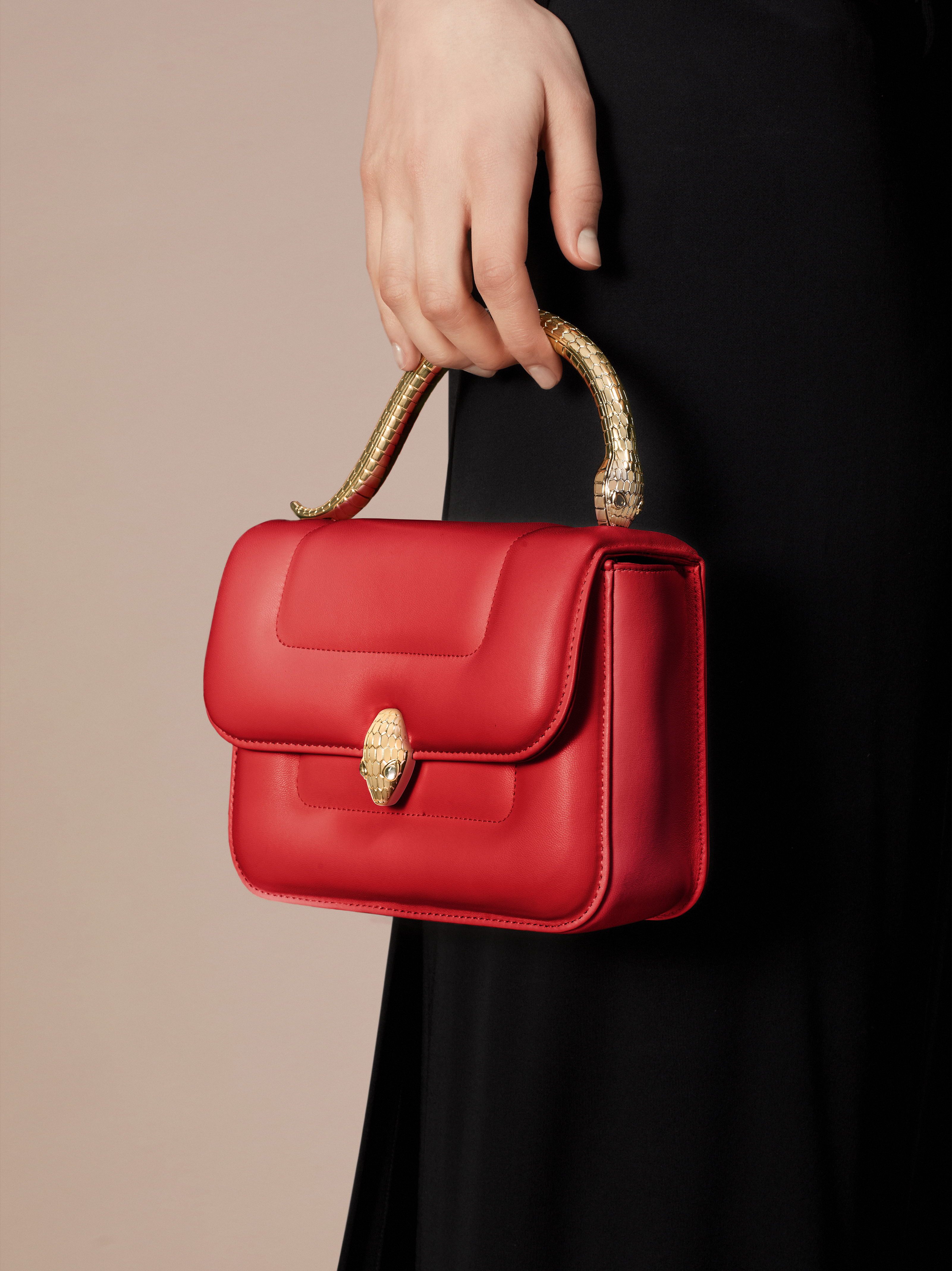 """""""Mary Katrantzou x Bvlgari"""" top handle bag in soft matelassé Carmine Jasper red nappa leather, with Carmine Jasper red nappa leather inner lining. New Serpenti head closure in gold-plated brass, finished with seductive crystal eyes. Special Edition. 291248 image 6"""