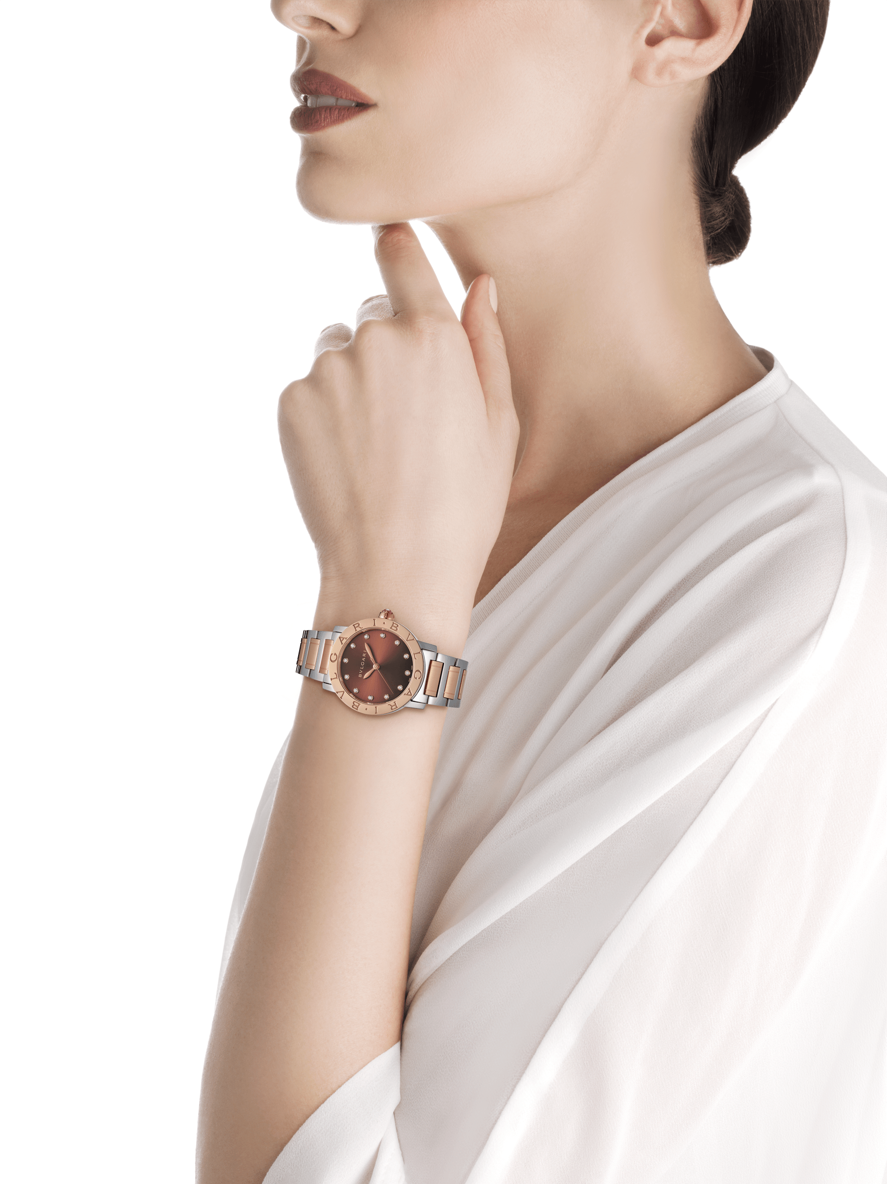 BVLGARI BVLGARI watch in stainless steel and 18 kt rose gold case and bracelet, with brown soleil lacquered dial and diamond indexes. Medium model 102157 image 4