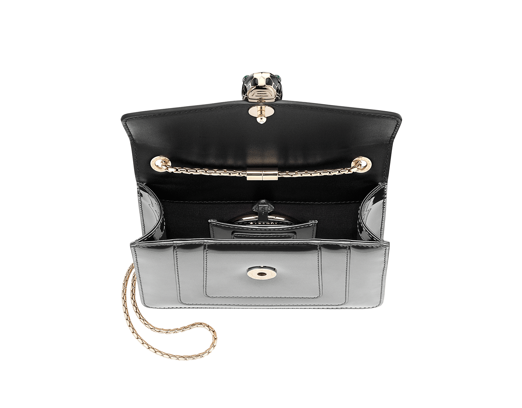 Flap cover bag Serpenti Forever in forest emerald brushed metallic calf leather. Brass light gold plated tempting snake head closure in black and white enamel, with eyes in green malachite. 422-BMCLa image 4