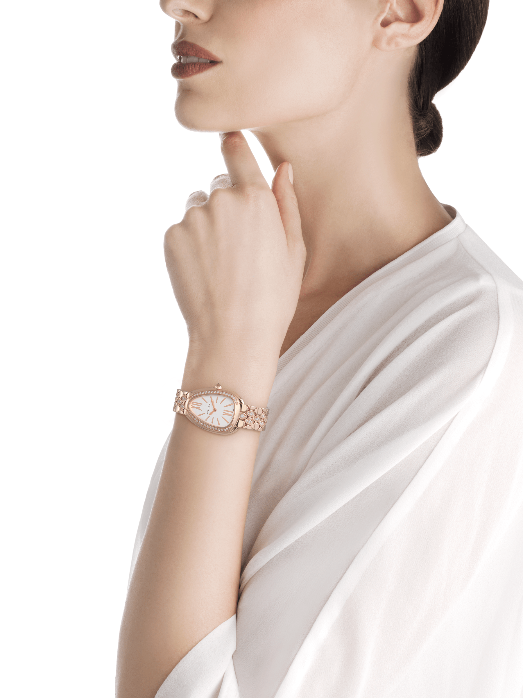 Serpenti Seduttori watch with 18 kt rose gold case and bracelet both set with diamonds, and white dial 103275 image 4