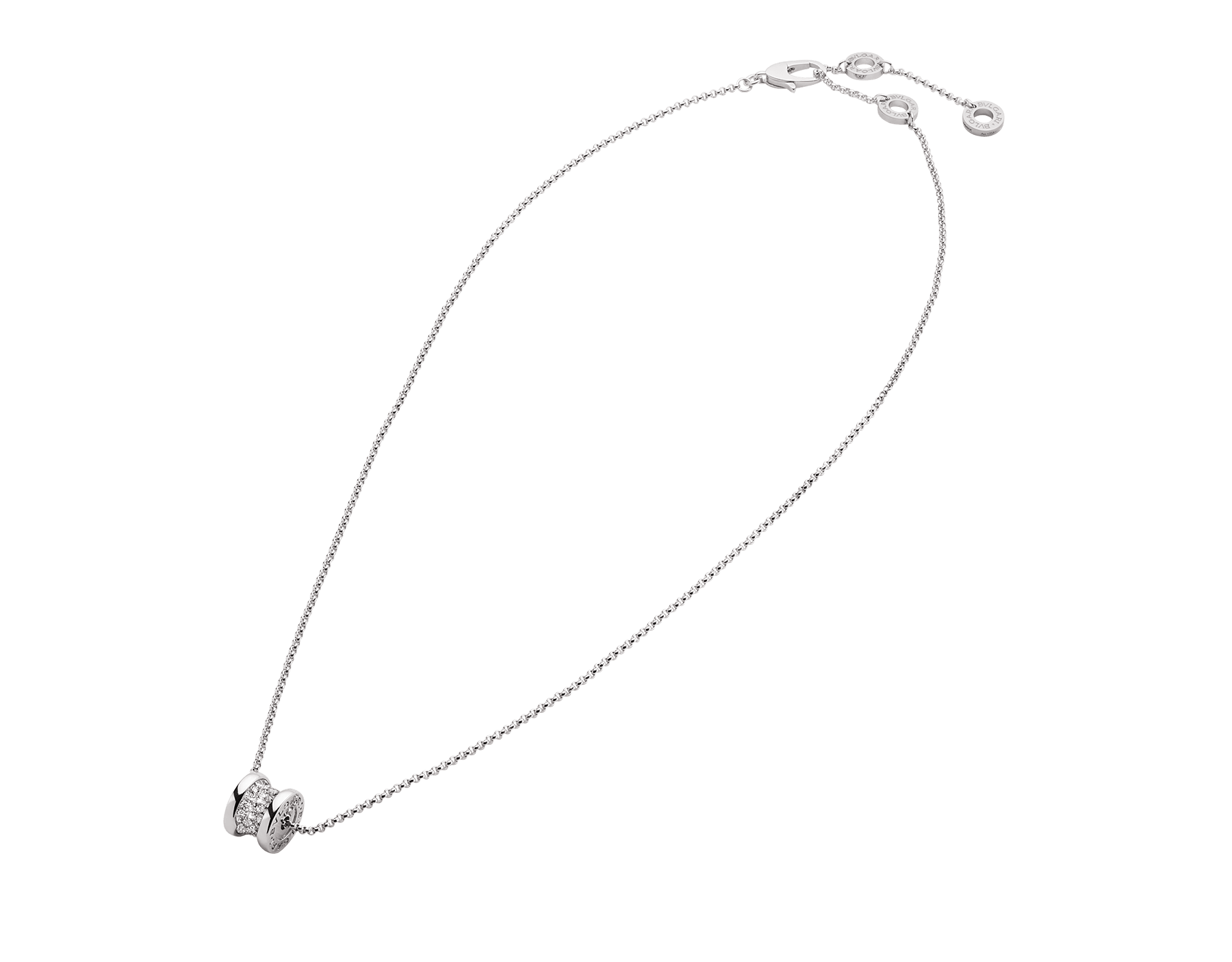 B.zero1 18 kt white gold necklace with round pendant in 18 kt white gold, set with pavé diamonds on the spiral. 351117 image 2