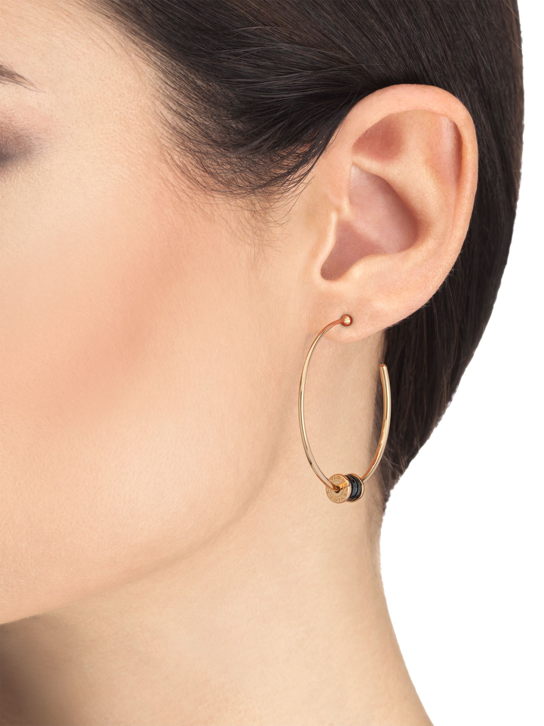 B.zero1 18 kt rose gold large hoop earrings set with black ceramic on the spiral 357222 image 3