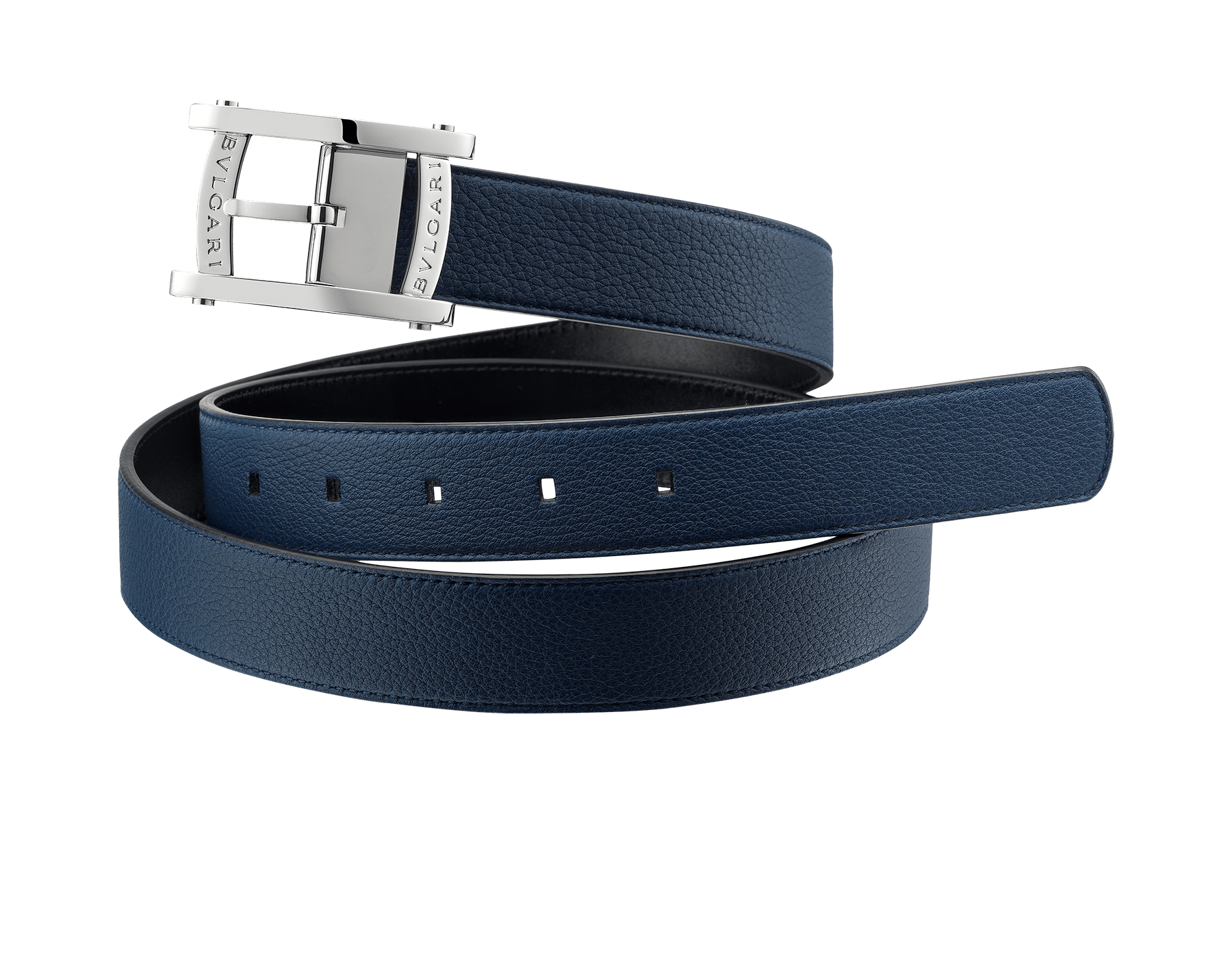 Reversible man belt in denim sapphire soft grain calf leather with brass palladium plated hardware. Sport buckle inspired by the bezel of the Assioma man watch. Also available in other colours in-store. Free size 281004 image 1