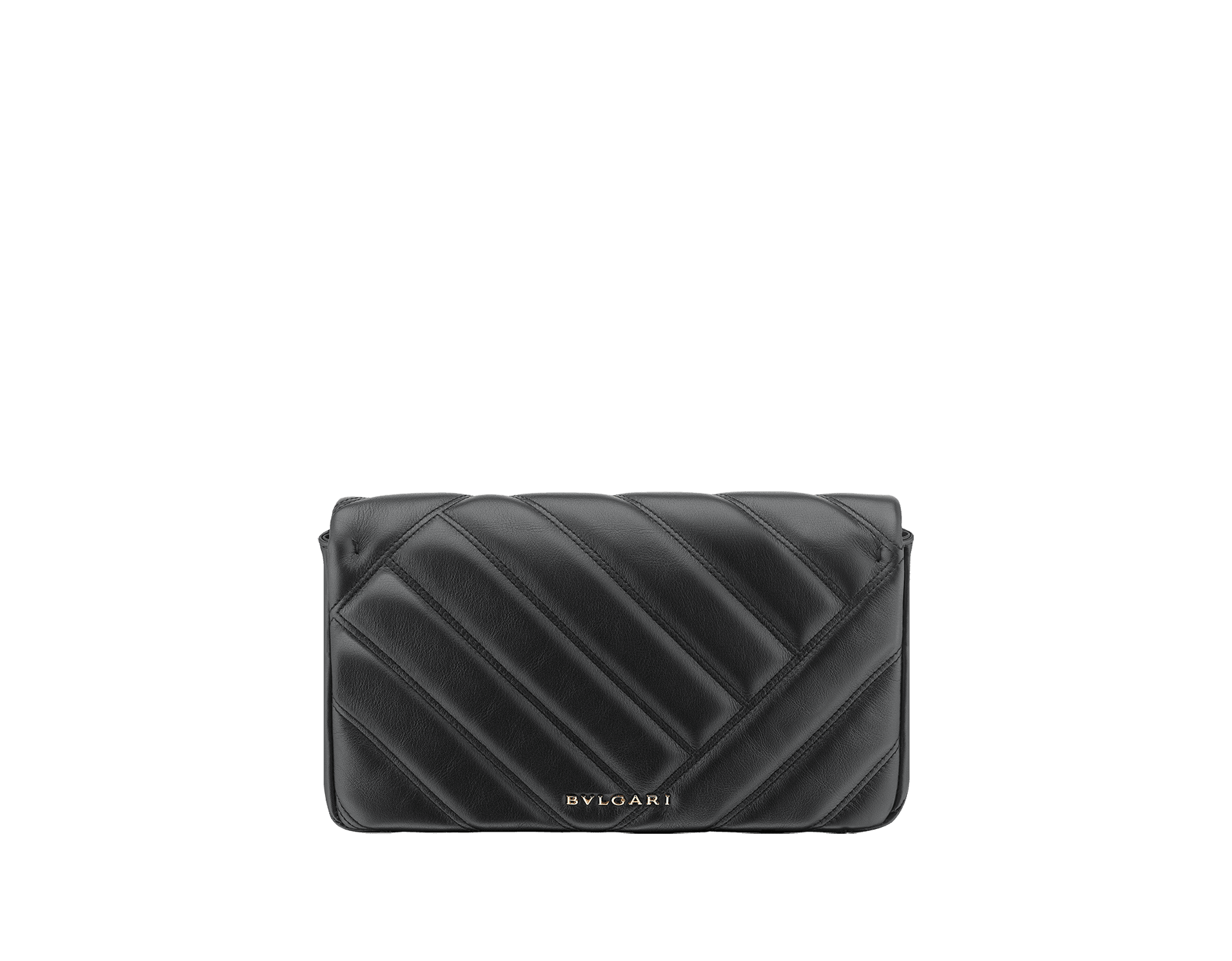 Serpenti Cabochon clutch bag in soft matelassé black calf leather, with a graphic motif. Tempting pink gold-plated brass snake head closure in matt and shiny black enamel and black onyx eyes. 289301 image 3