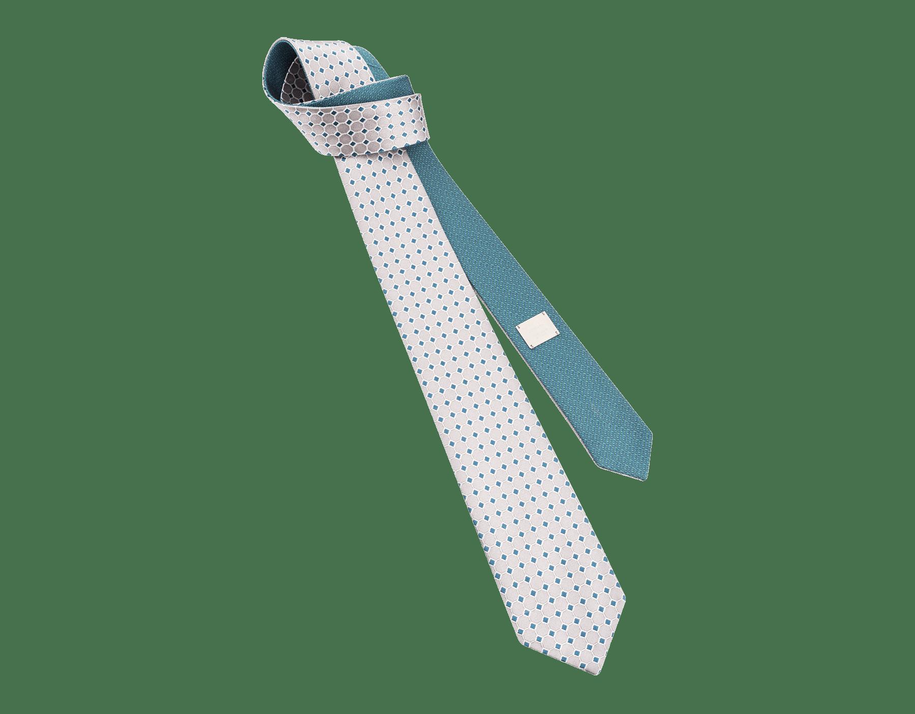 Cravatta grigia con motivo Double Logo Octo in seta pregiata. 244139 image 1