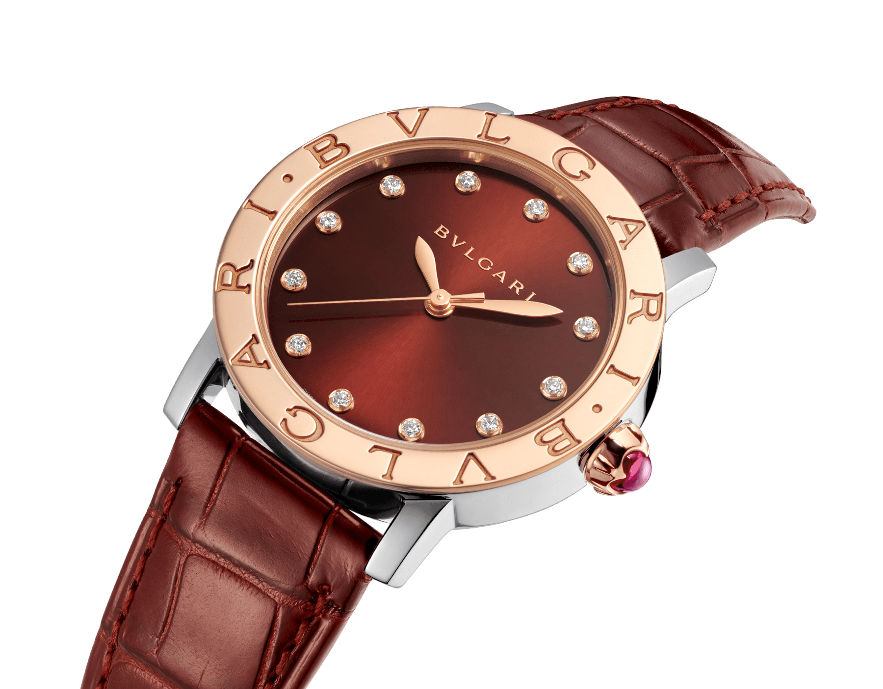 BVLGARI BVLGARI watch with stainless steel case, 18 kt rose gold bezel, brown satiné soleil lacquered dial, golden diamond indexes and shiny dark brown alligator bracelet 102742 image 2