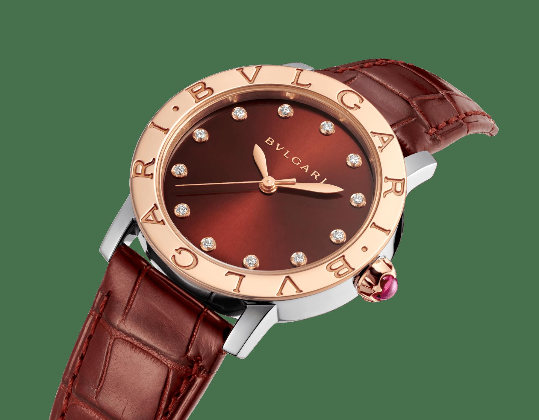 Relógio BVLGARIBVLGARI com caixa em aço inoxidável, bezel em ouro rosa 18K, mostrador laqueado acetinado marrom soleil, índices de diamante dourados e pulseira em couro de jacaré marrom escuro brilhante 102742 image 2