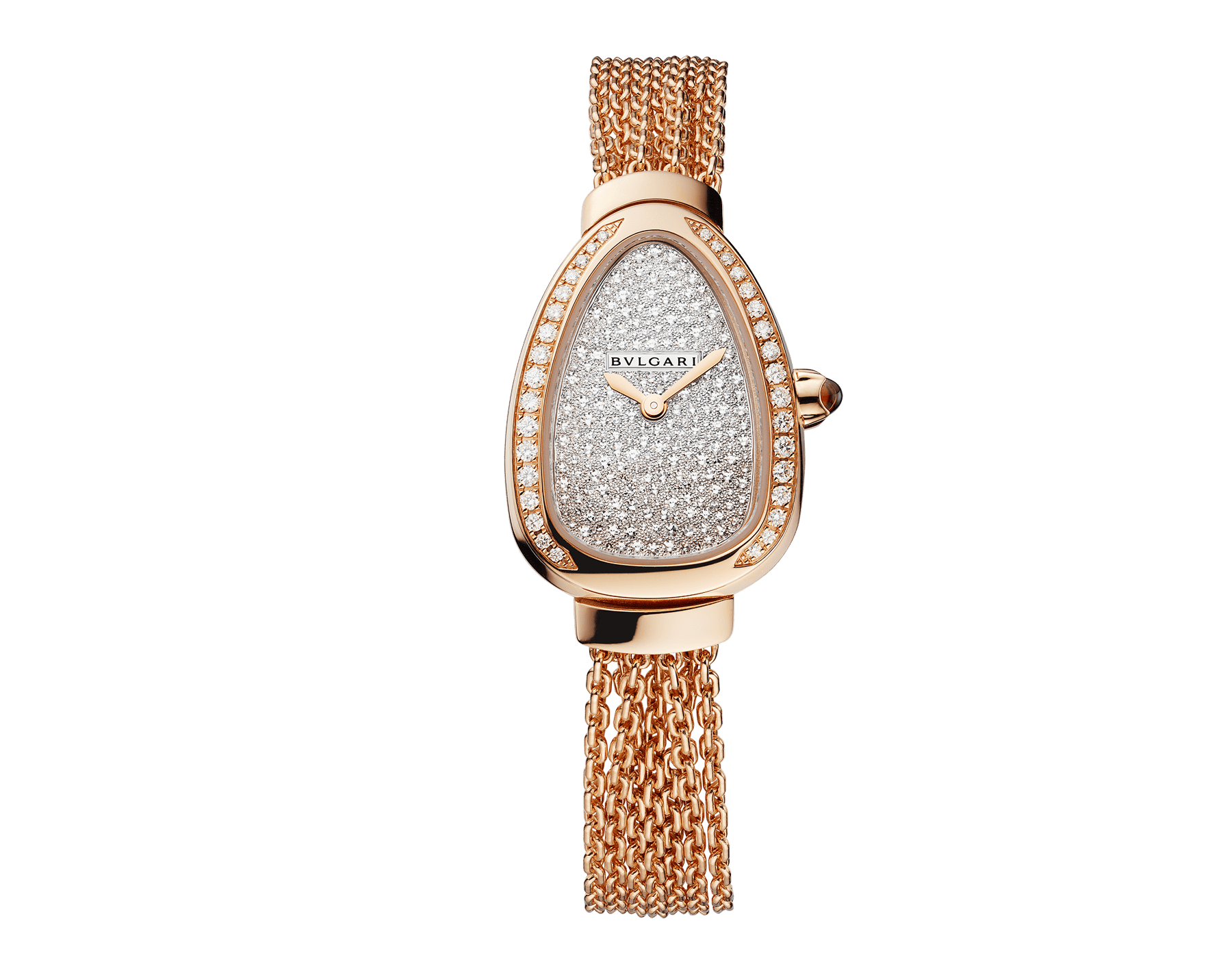 Serpenti watch with 18 kt rose gold case set with brilliant-cut diamonds, snow pavé dial and interchangeable single spiral chain bracelet in 18 kt rose gold 103063 image 1