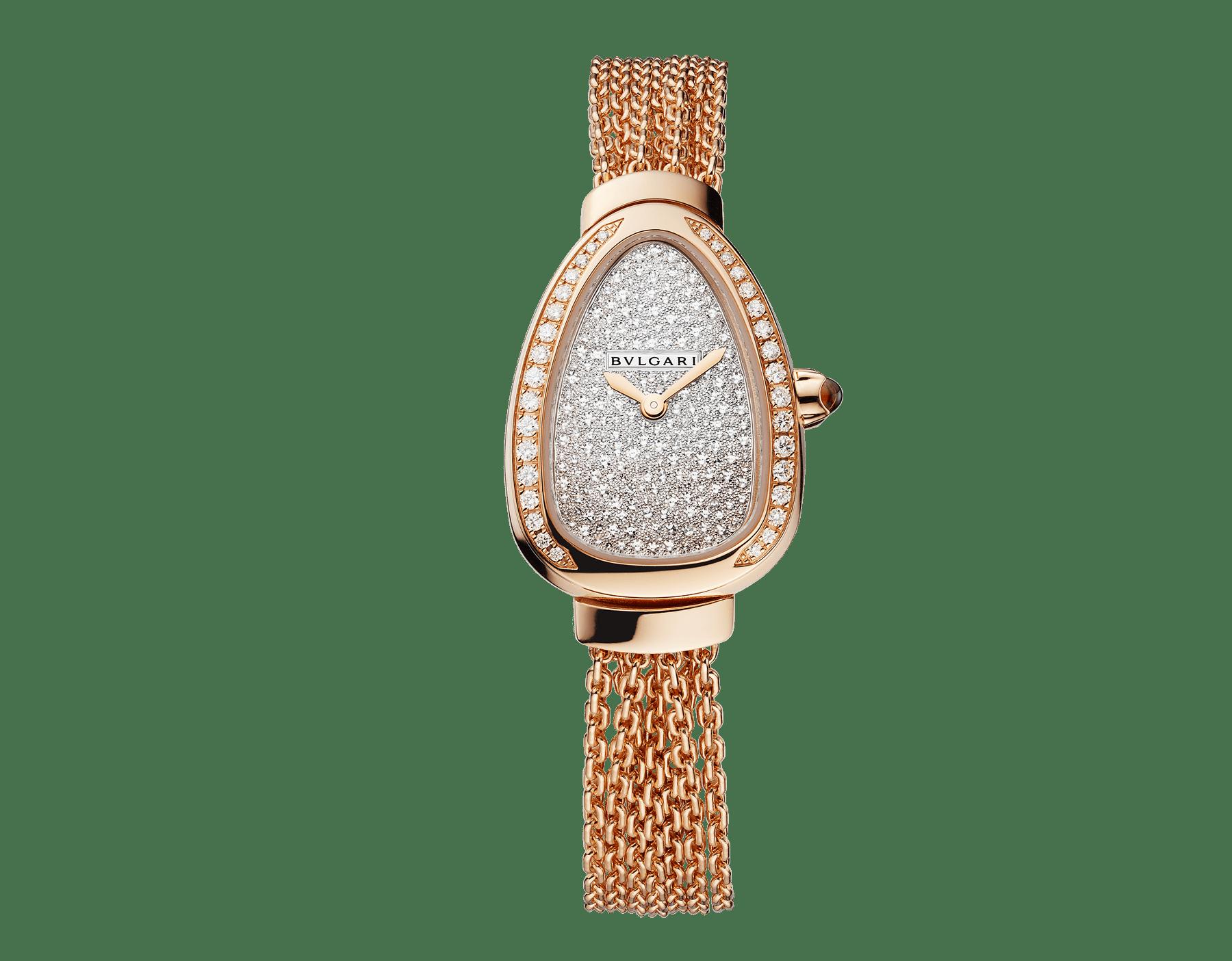 Reloj Serpenti con caja en oro rosa de 18qt con diamantes talla brillante engastados, esfera con pavé efecto nieve y brazalete de cadena de una vuelta intercambiable en oro rosa de 18qt 103063 image 1