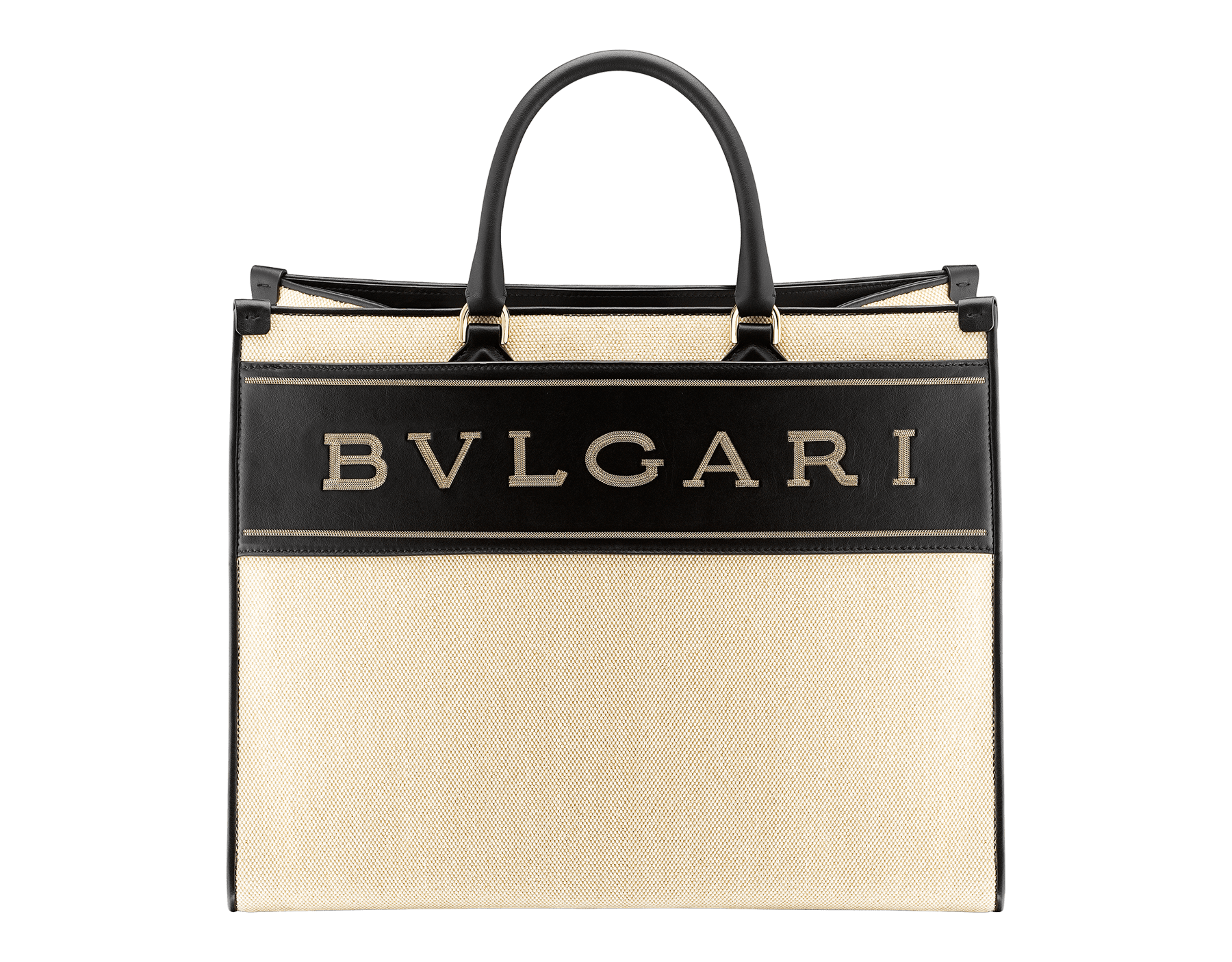 """""""Bvlgari Logo"""" large tote bag in black calf leather, with black grosgrain inner lining. Bvlgari logo featured with dark ruthenium-plated brass chain inserts on the black calf leather. BVL-1160 image 1"""