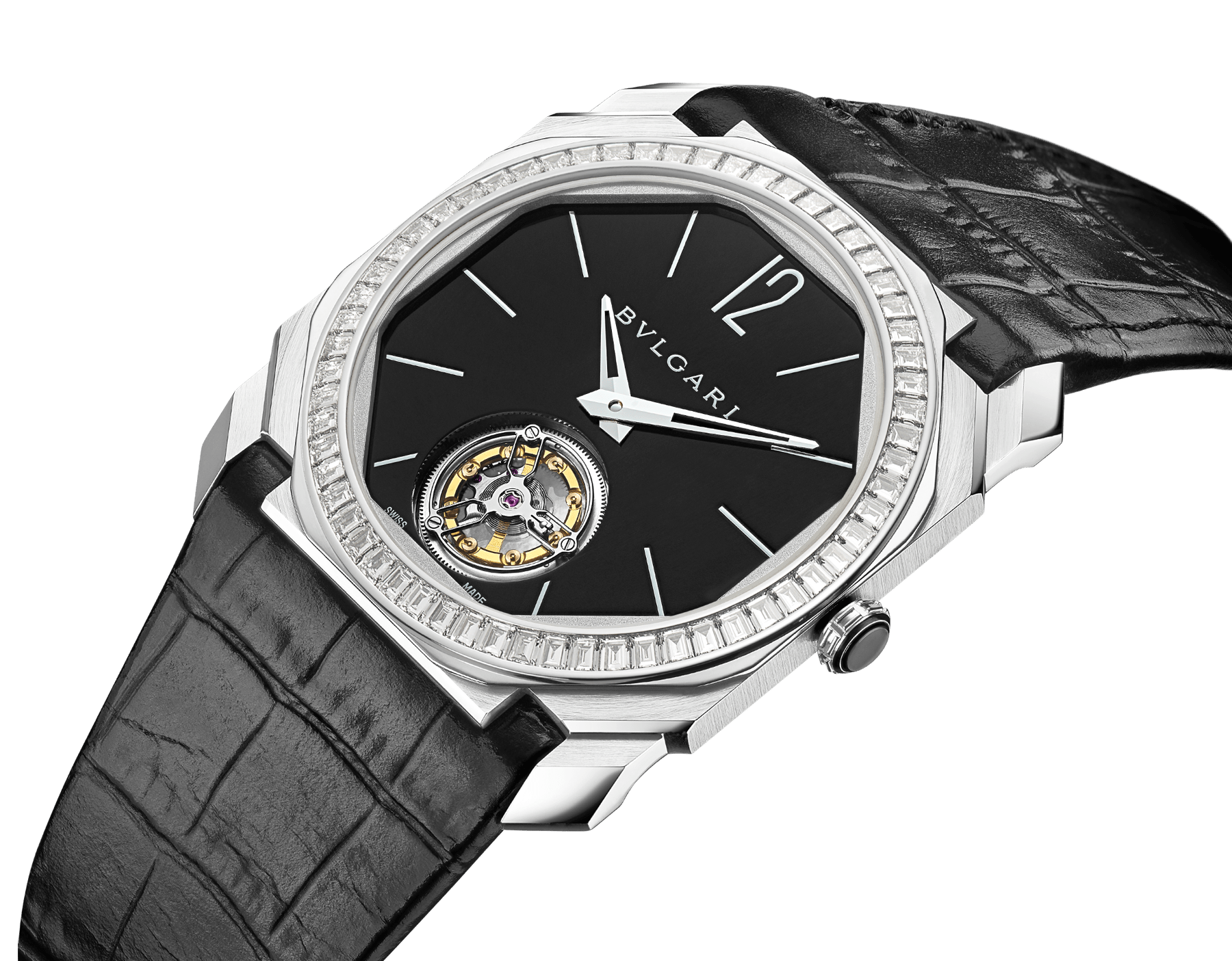Octo Finissimo Tourbillon Limited Edition watch with extra thin mechanical manufacture movement and manual winding, platinum case, bezel set with baguette-cut diamonds, black lacquered dial with tourbillon see-through opening and black alligator bracelet. 102401 image 2
