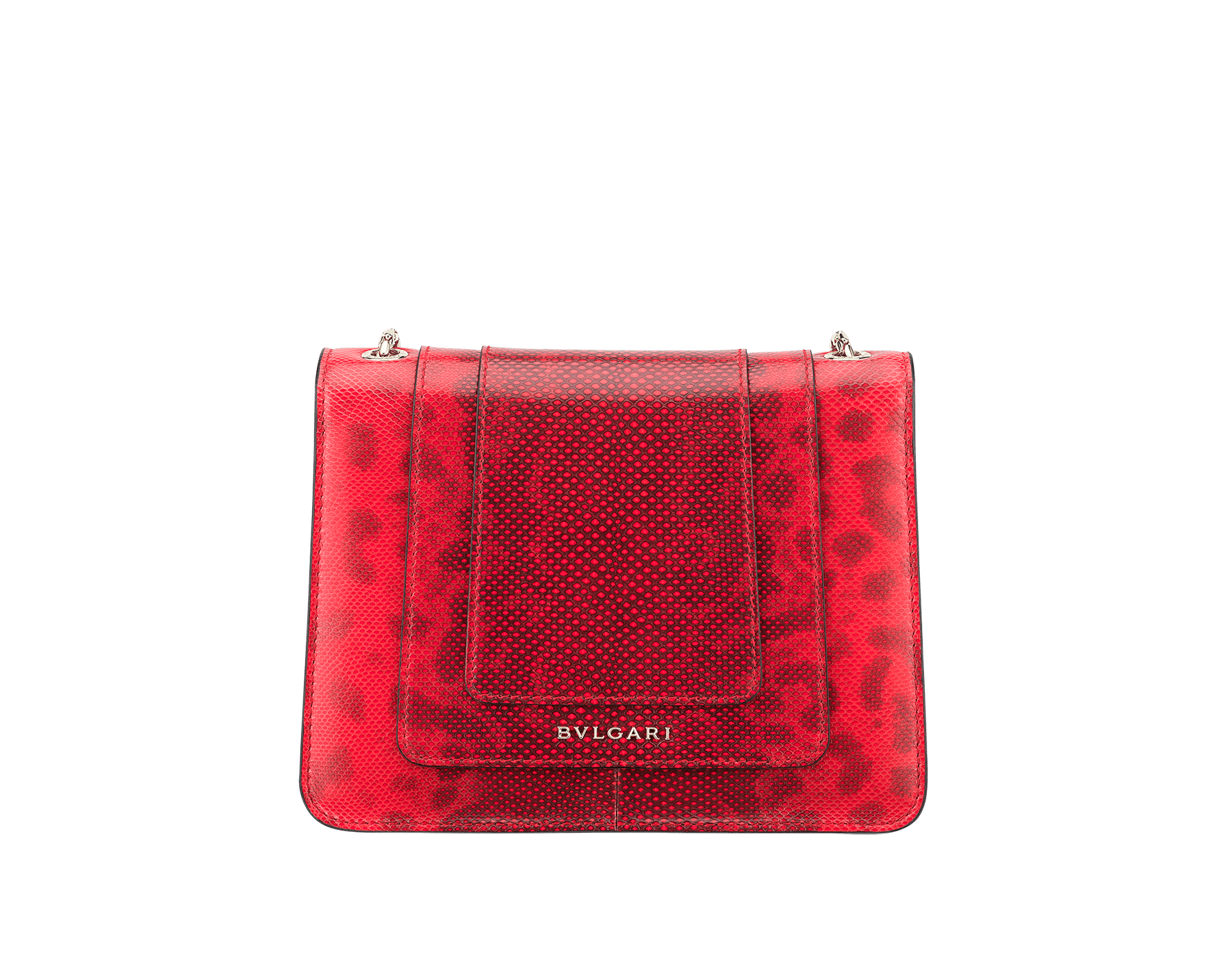 Serpenti Forever crossbody bag in sea star coral shiny karung skin. Snakehead closure in light gold plated brass decorated with black and white enamel, and green malachite eyes. 287911 image 3