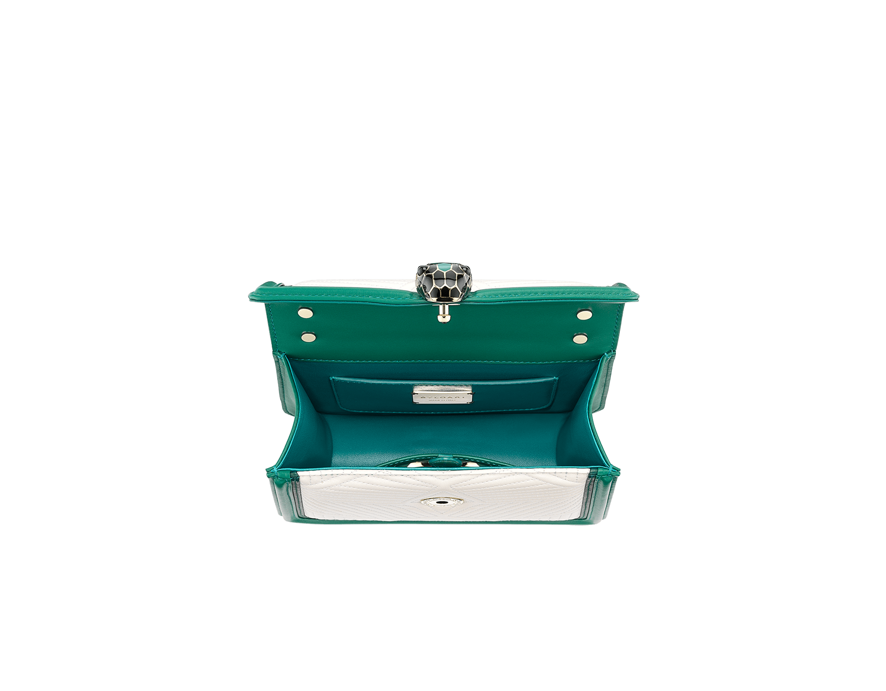 """Serpenti Diamond Blast"" top handle bag in white agate quilted nappa leather and emerald green smooth calf leather frames. Iconic snakehead closure in light gold-plated brass enriched with matte black and shiny emerald green enamel and black onyx eyes. 289944 image 4"