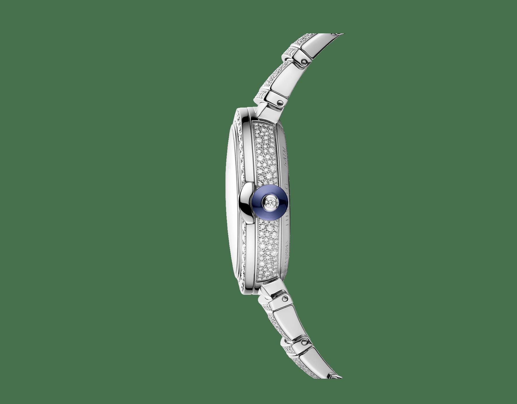 LVCEA Uhr mit Gehäuse und Armband aus 18Karat Weißgold mit Diamanten im Brillantschliff und Zifferblatt voll ausgefasst mit Diamant-Pavé. 102365 image 3