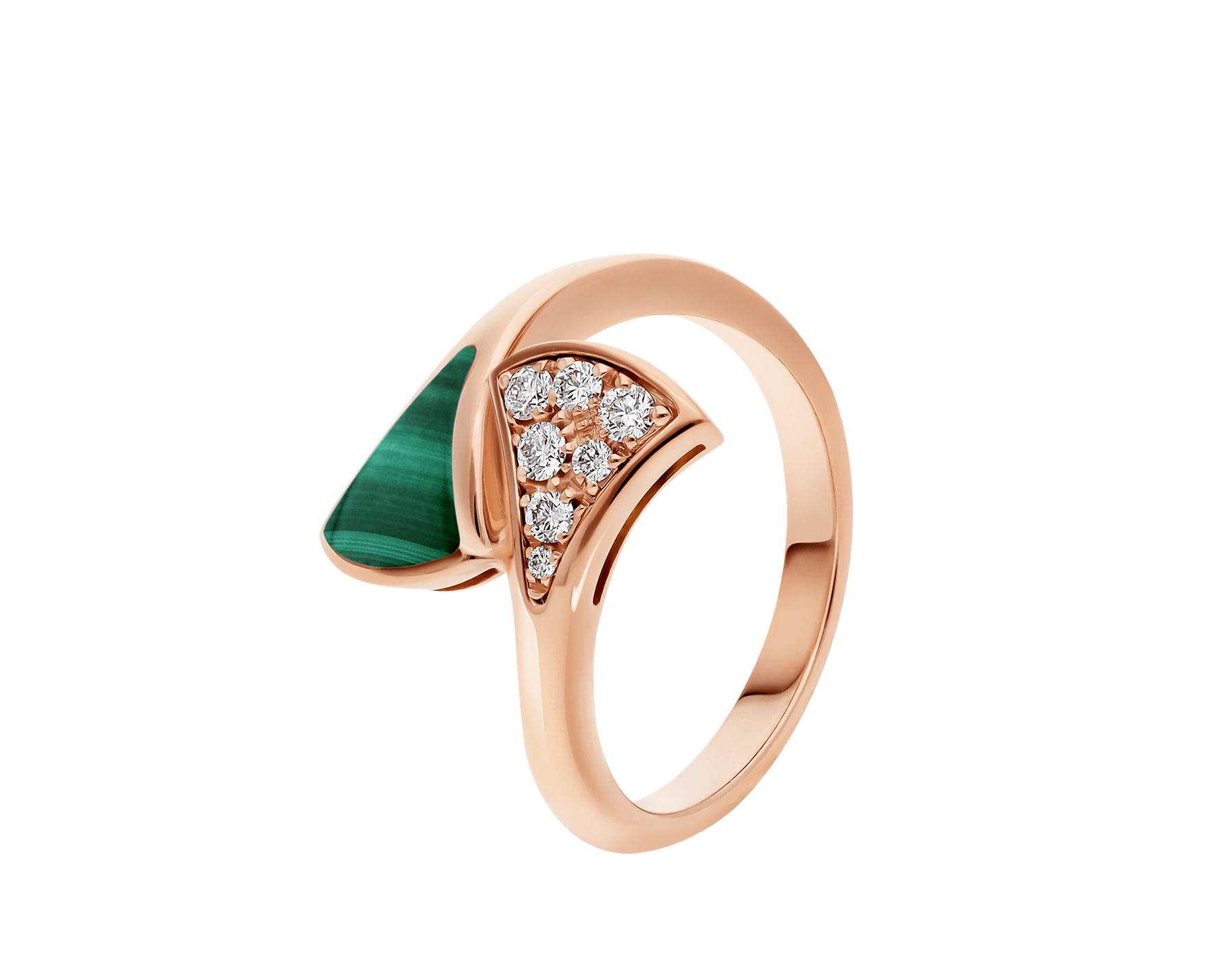 DIVAS' DREAM 18 kt rose gold ring set with malachite element and pavé diamonds (0.10 ct) AN858646 image 1