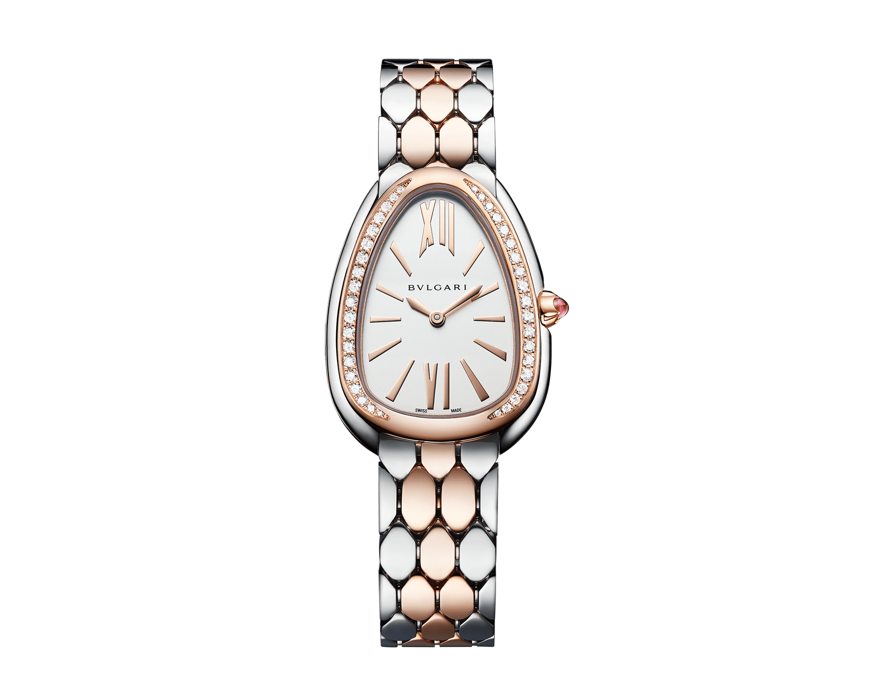 Serpenti Seduttori watch with stainless steel case, 18 kt rose gold bezel set with diamonds, white dial, and 18 kt rose gold and stainless steel bracelet 103274 image 1