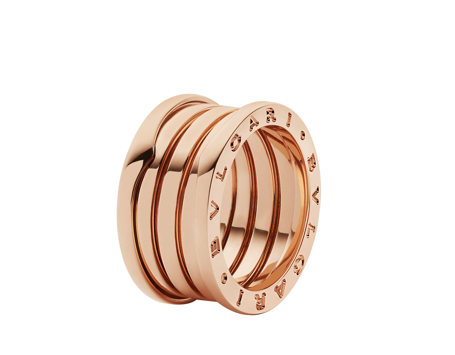 B.zero1 four-band ring in 18 kt rose gold. B-zero1-4-bands-AN856732 image 2