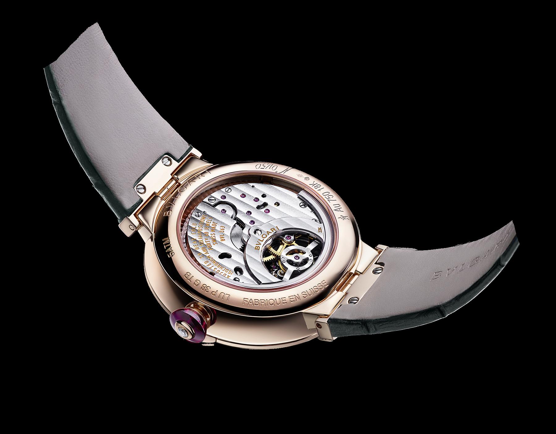 Montre LVCEA Tourbillon avec mouvement mécanique de manufacture, remontage automatique et tourbillon transparent. Boîtier en or rose 18K serti de diamants, cadran en jade et bracelet en alligator vert. 102693 image 3