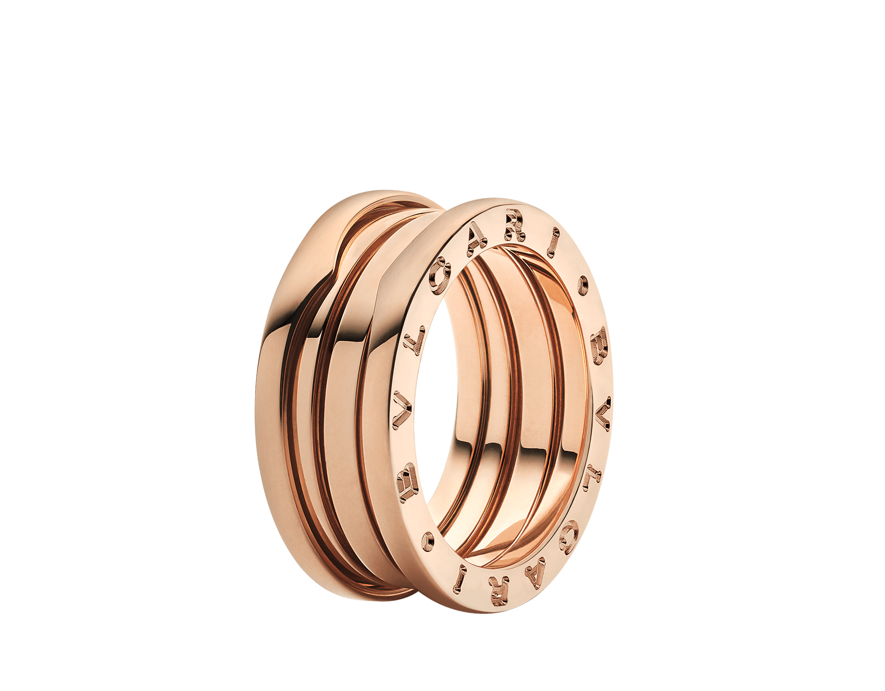 B.zero1 three-band ring in 18 kt rose gold. B-zero1-3-bands-AN852405 image 1