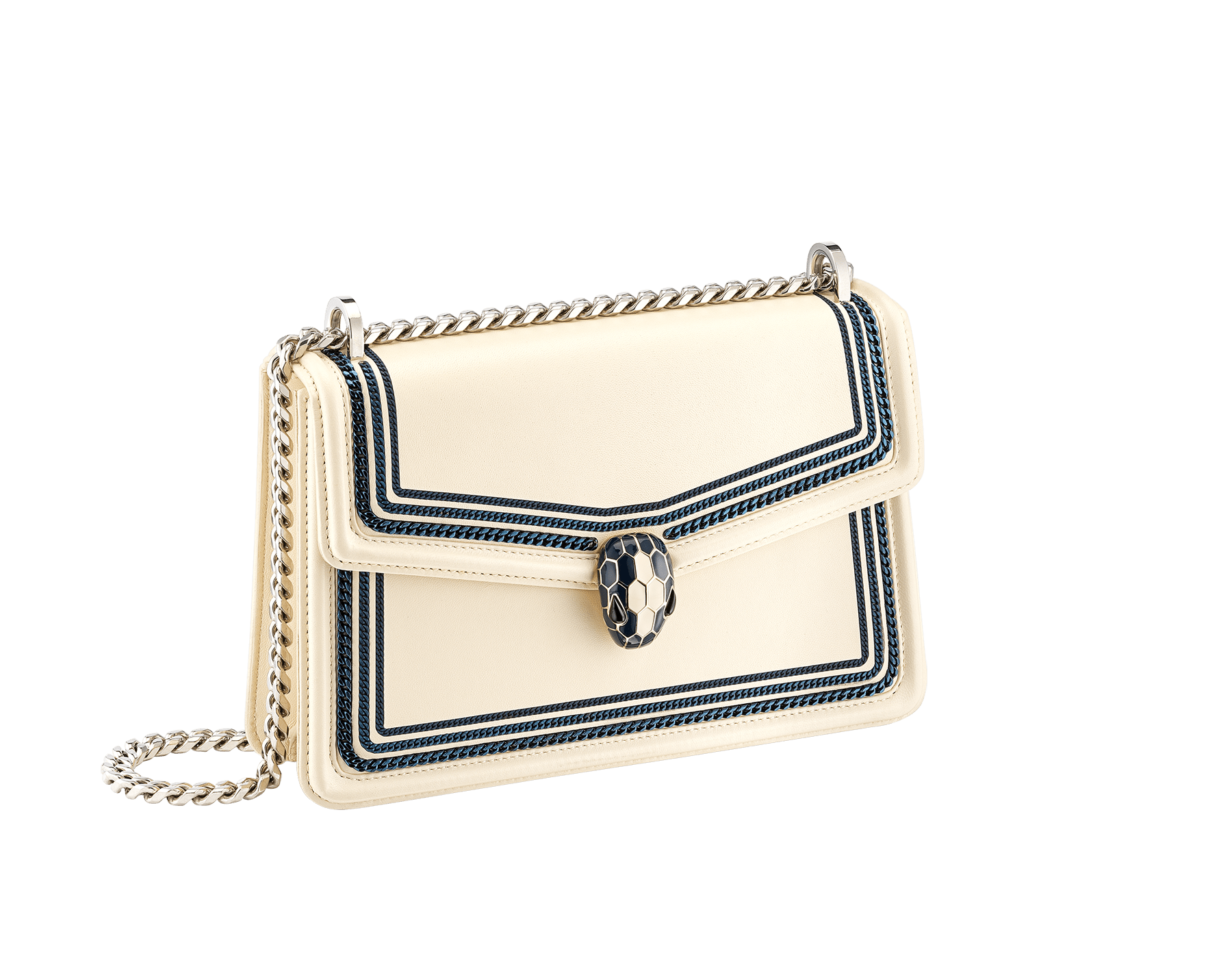 """""""Serpenti Diamond Blast"""" shoulder bag in Ivory Opal white smooth calf leather, featuring a Teal Topaz green 3-Maxi Chain motif, and an Aquamarine light blue nappa leather internal lining. Tempting snakehead closure in palladium-plated brass, embellished with Teal Topaz green and Ivory Opal white enamel, and black onyx eyes. 291173 image 3"""