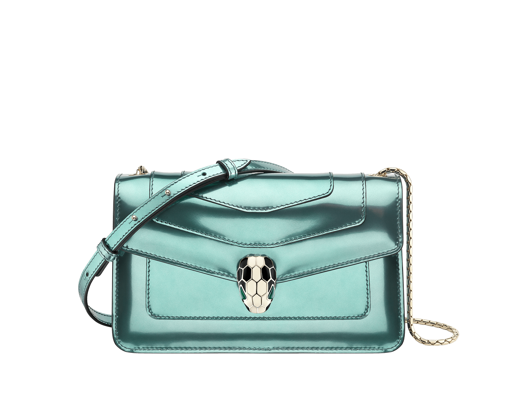 """""""Serpenti Forever """" crossbody bag in glacier turquoise brushed metallic calf leather. Iconic snakehead closure in light gold plated brass enriched with black and white enamel and green malachite eyes. 287048 image 1"""
