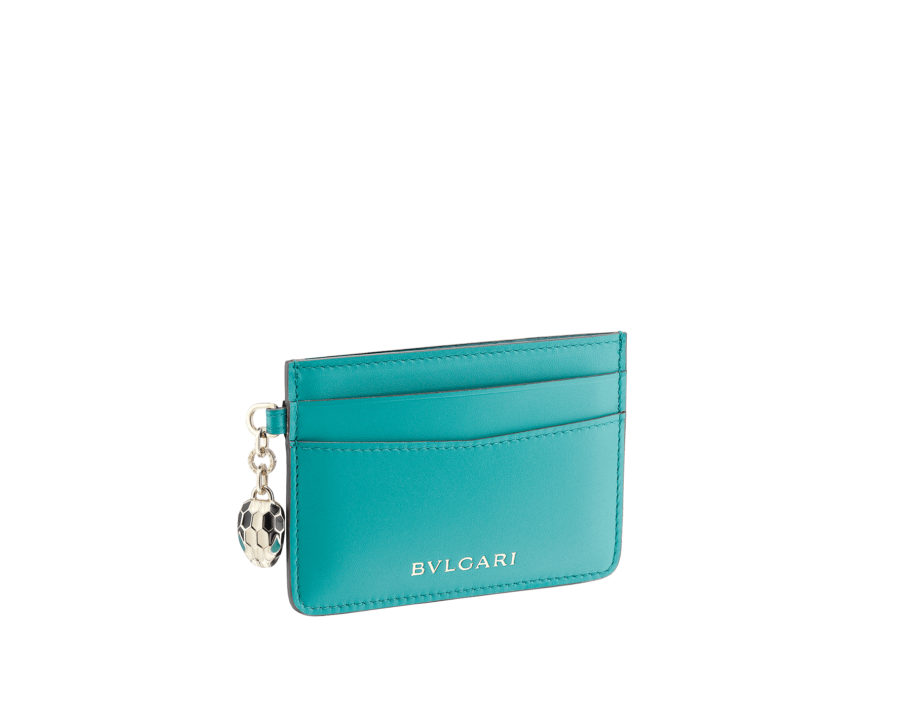 Serpenti Forever credit card holder in cobalt tourmaline and aster amethyst calf leather. Iconic snakehead charm in black and white enamel, with green malachite enamel eyes SEA-CC-HOLDER-CLc image 1