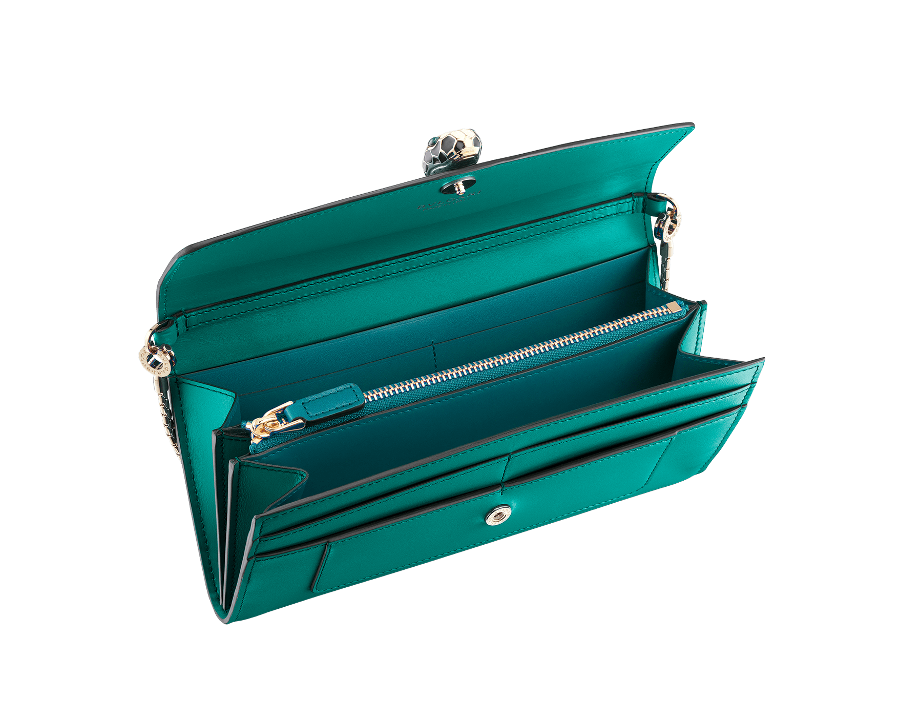 Serpenti Forever wallet pouch in tropical tourquoise and deep jade calf leather. Iconic snakehead charm in black and white enamel, with green malachite eyes. 288023 image 2
