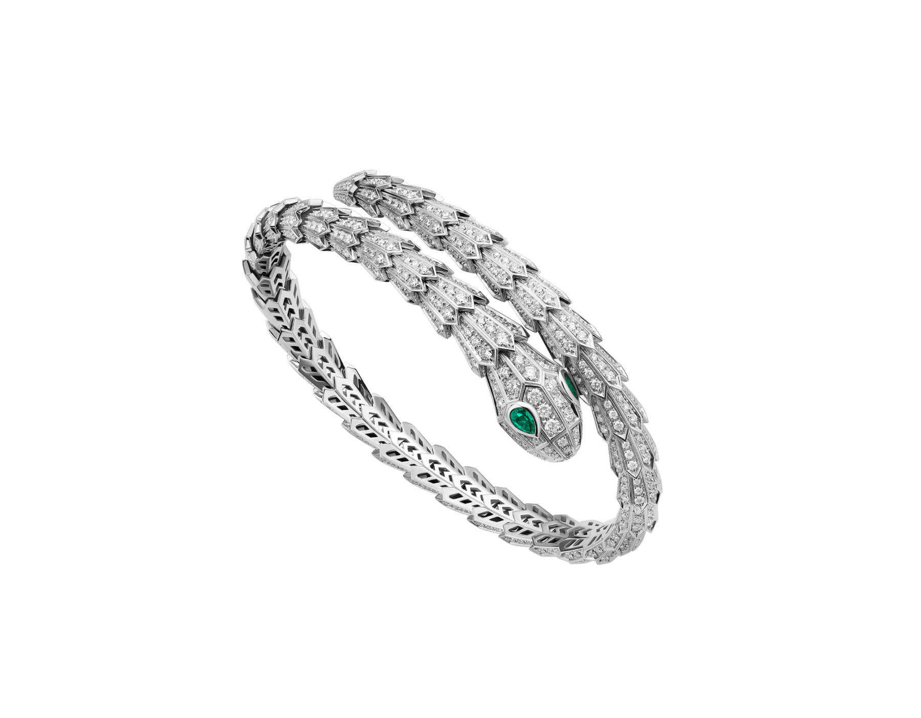 Serpenti 18 kt white gold bracelet set with pavé diamonds and two emerald eyes. BR858734 image 1