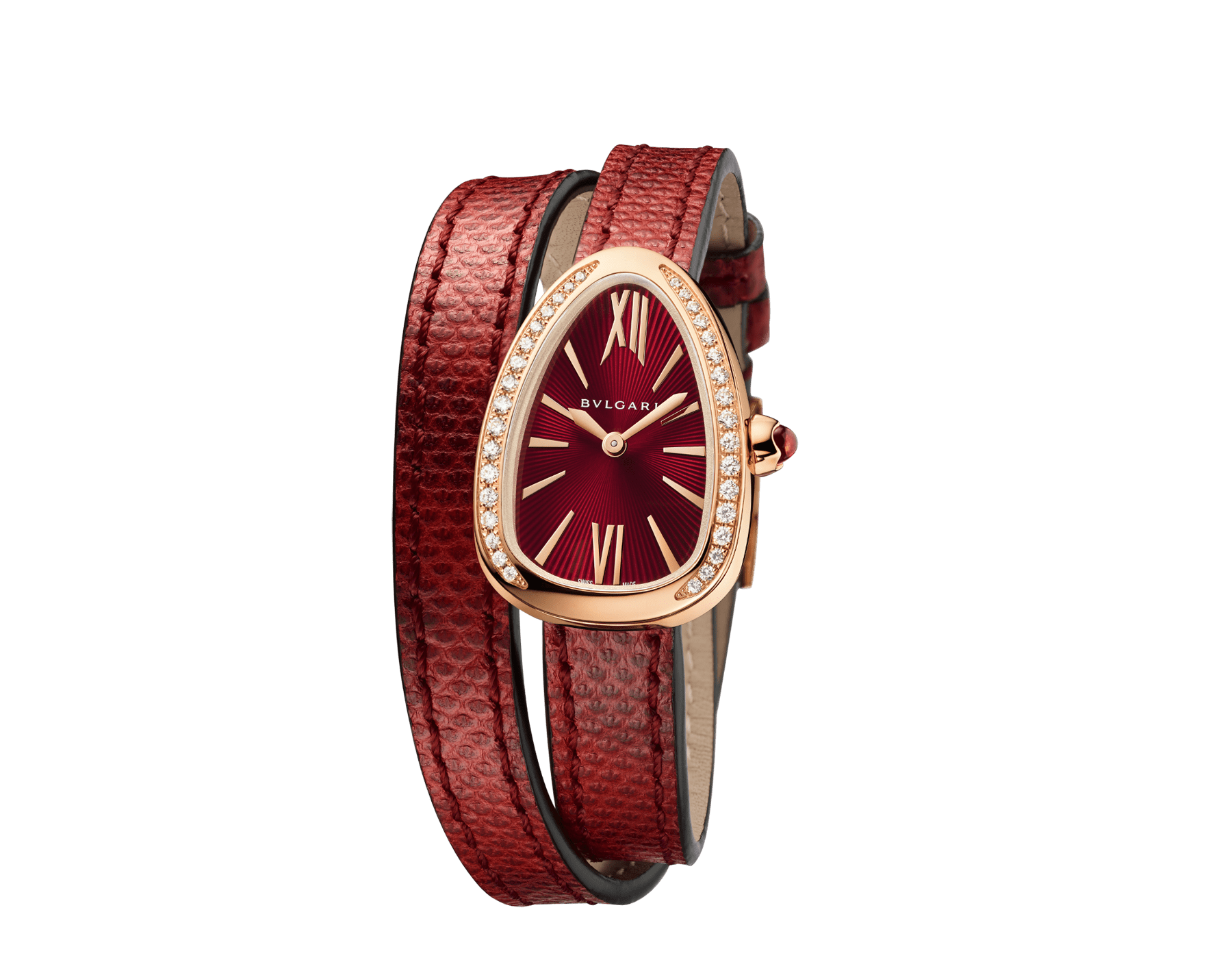 Serpenti watch with 18 kt rose gold case set with brilliant cut diamonds, red lacquered dial and interchangeable double spiral bracelet in red karung leather. 102730 image 2