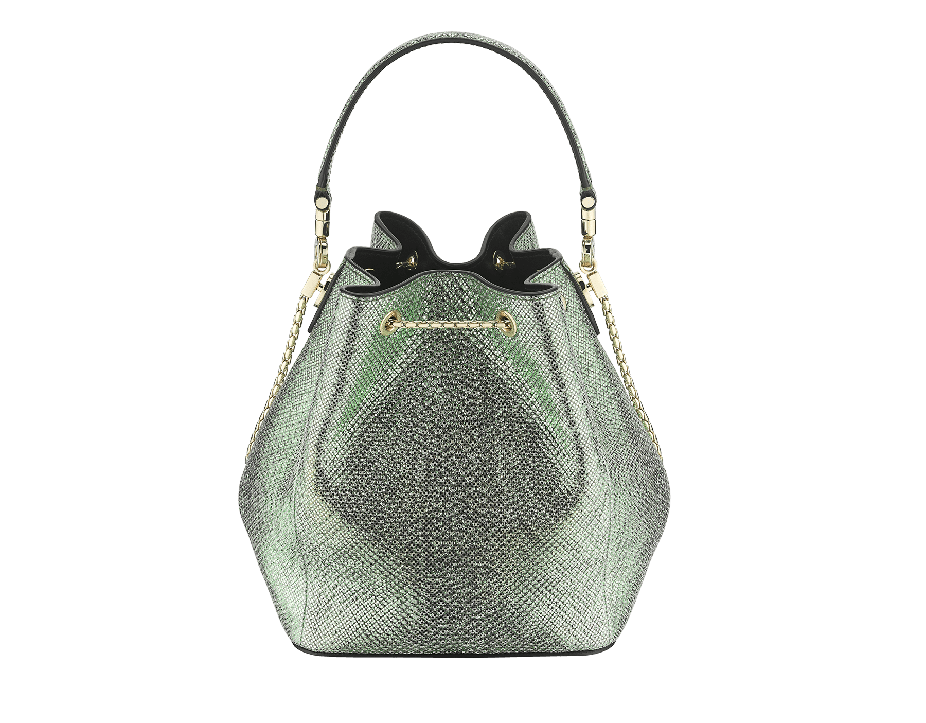 """Serpenti Forever"" bucket in mint metallic karung skin and black nappa internal lining. Hardware in light gold plated brass and snakehead closure in black and white agate enamel, with eyes in black onyx. 934-MK image 3"