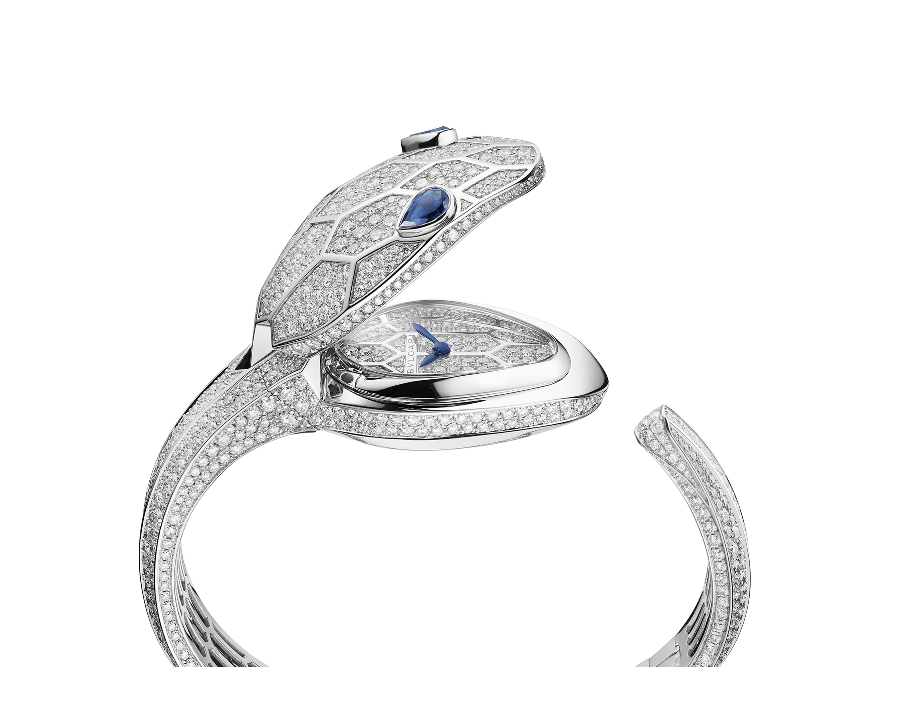 Serpenti Misteriosi Secret Watch in 18 kt white gold case and bangle bracelet, both set with round brilliant-cut diamonds, diamond full pavé dial and pear-shaped sapphire eyes. Small size 102989 image 3