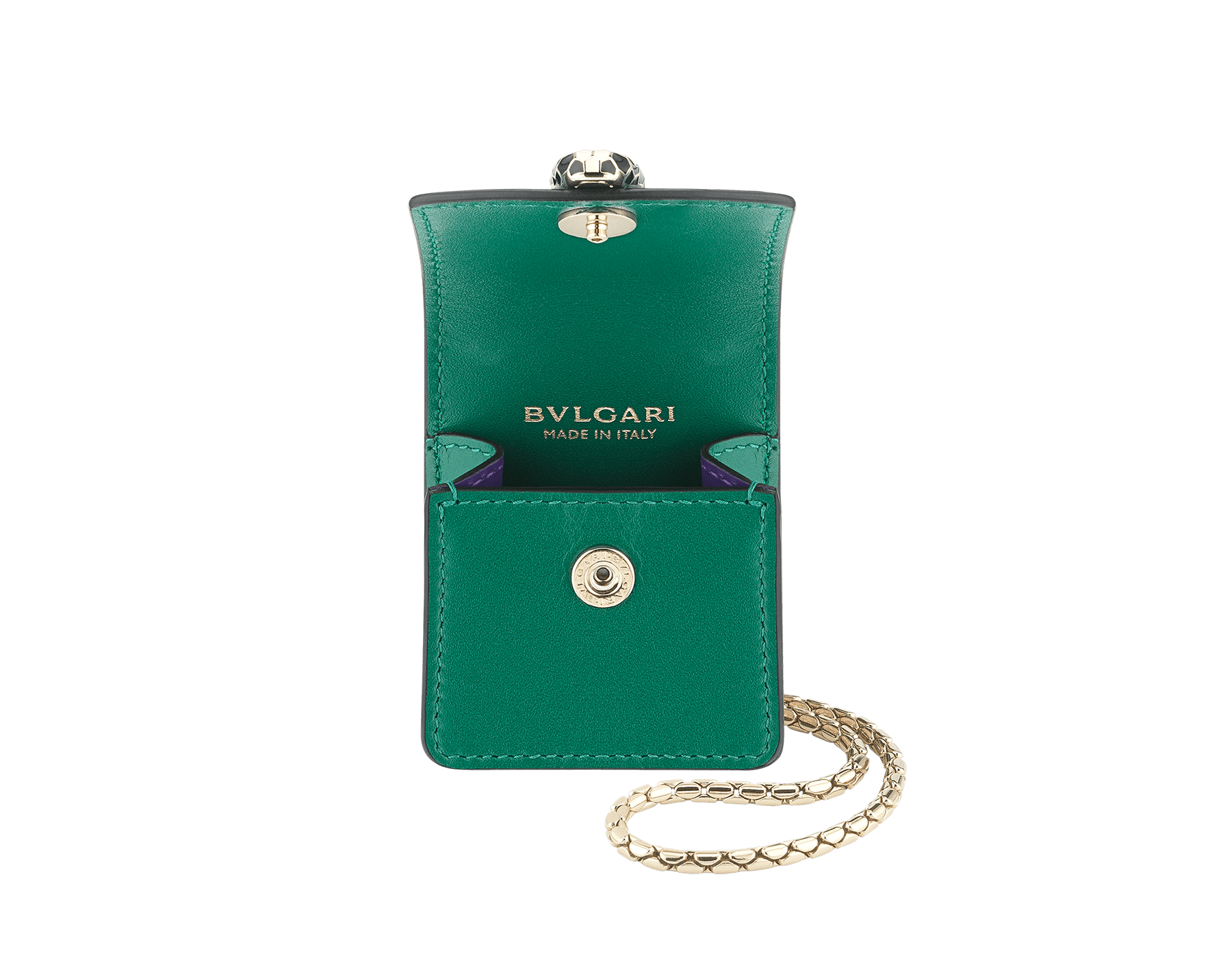 Serpenti Forever Earbuds holder in emerald green calf leather. Light gold plated brass Serpenti head closure in black and white enamel, with green enamel eyes. 289095 image 2