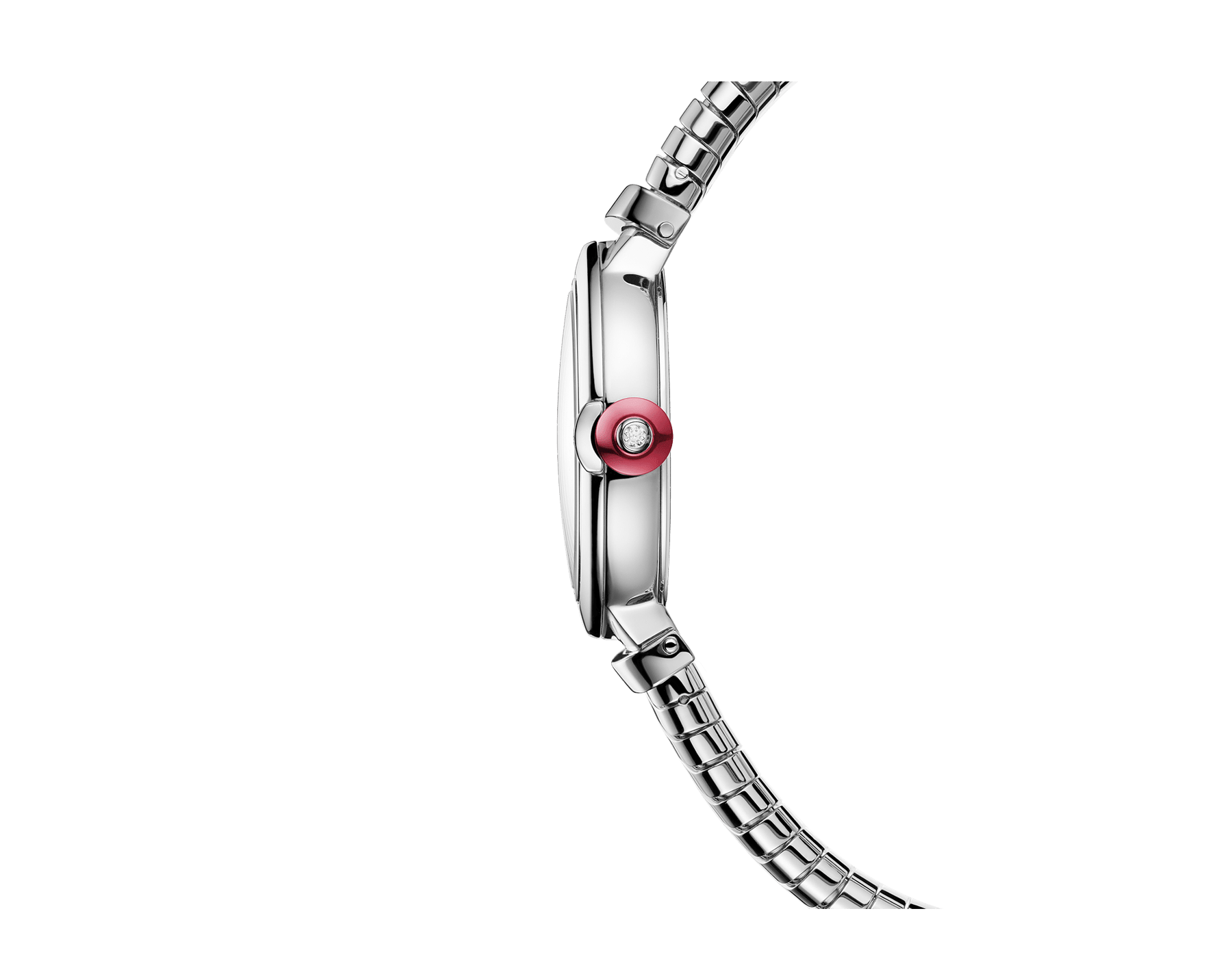 LVCEA Tubogas watch in stainless steel case and tubogas bracelet, with black lacquered dial and diamond indexes 102951 image 2