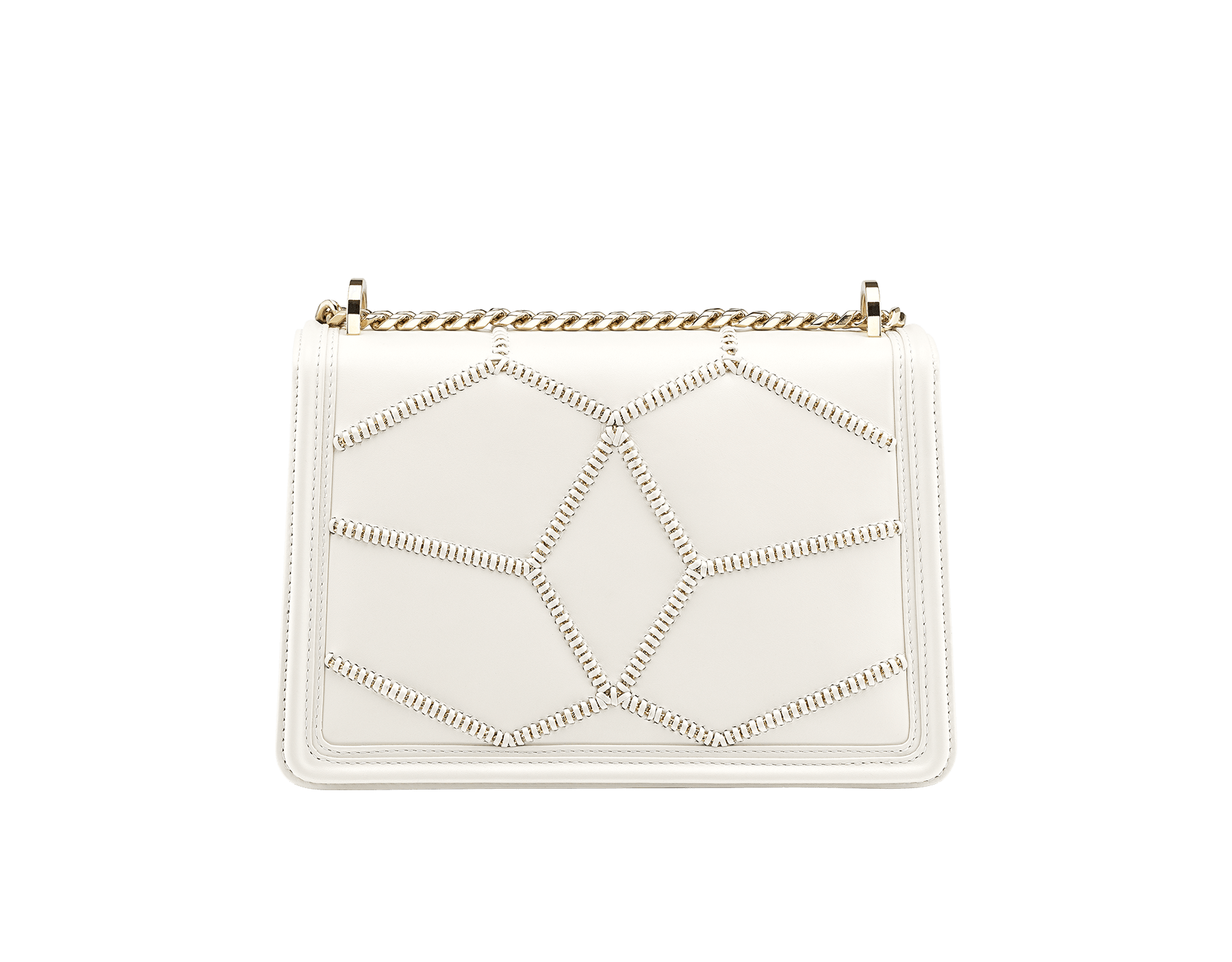 Serpenti Diamond Blast shoulder bag in white agate smooth calf leather with geometric chain motif in light gold finishing.Snakehead closure in light gold plated brass decorated with black and white enamel, and black onyx eyes. 922-NGC image 3