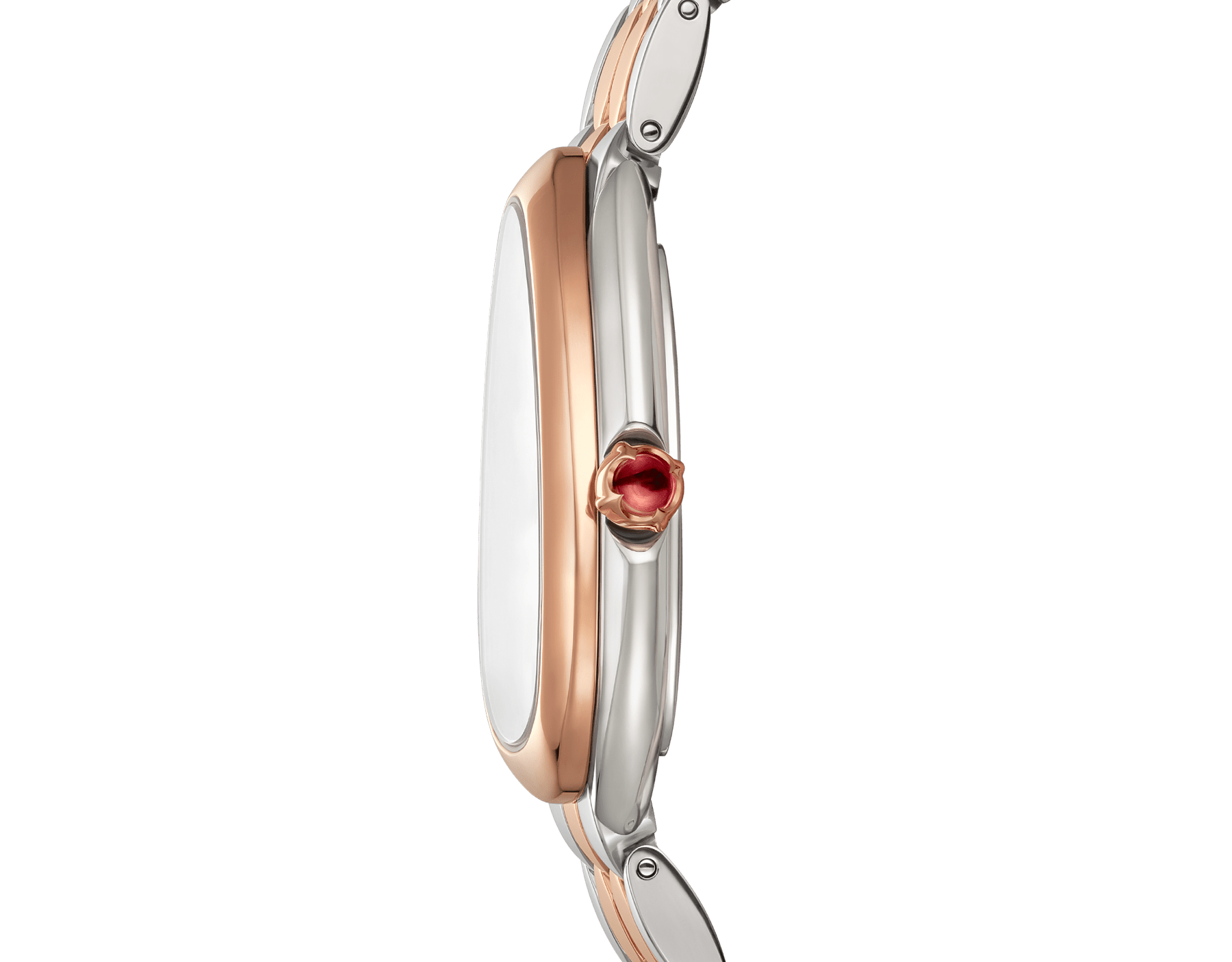 Serpenti Seduttori watch in stainless steel and 18 kt rose gold case and bracelet, with white silver opaline dial 103277 image 3