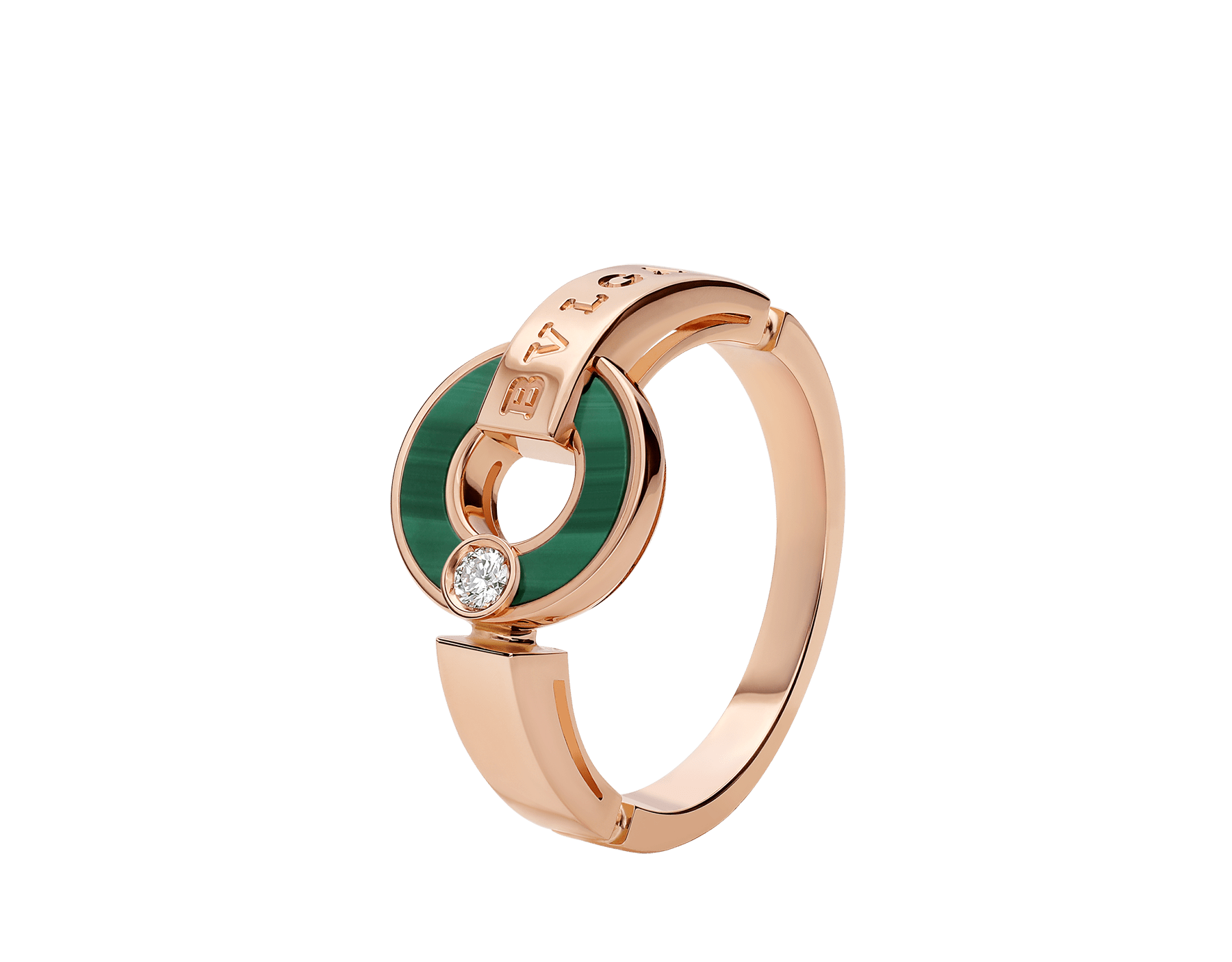 BVLGARI BVLGARI Openwork 18 kt rose gold ring set with malachite elements and a round brilliant-cut diamond AN858946 image 1