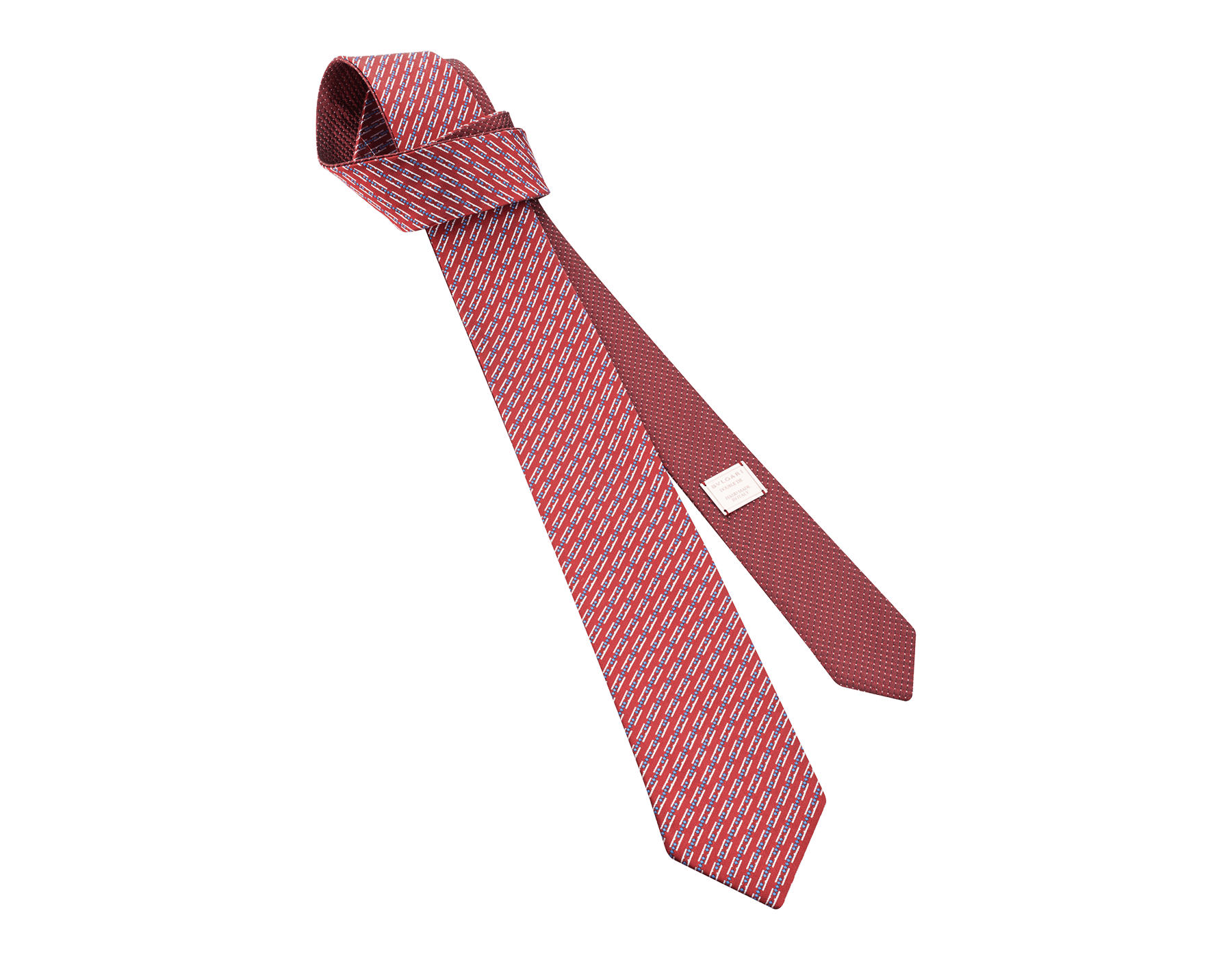 "Red ""Double BZero3D"" double-faced tie in fine silk. DOUBLEBZERO3D image 1"