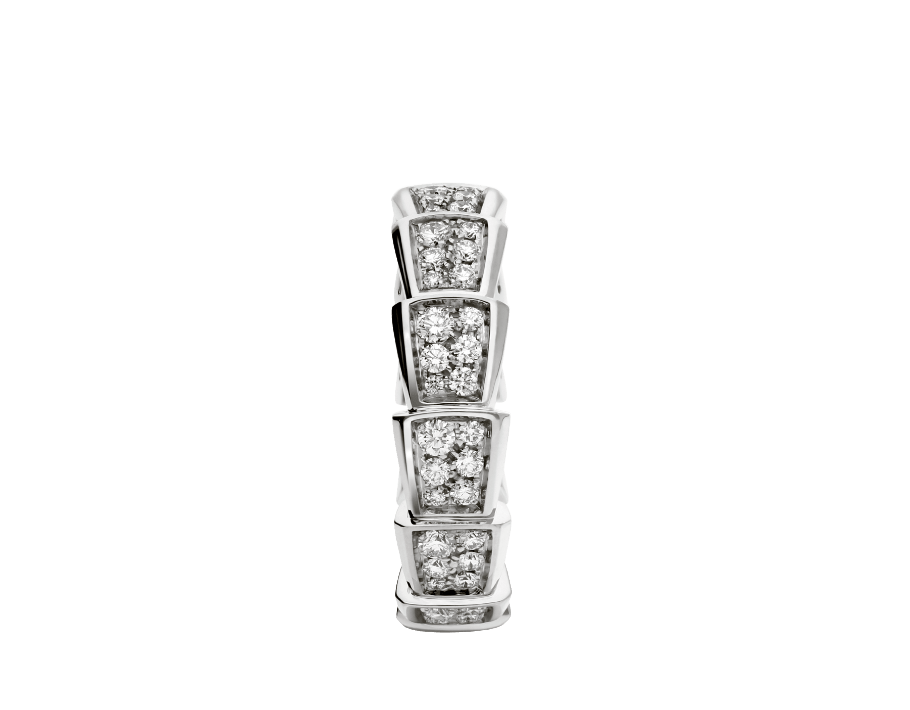 Serpenti Viper band ring in 18 kt white gold, set with full pavé diamonds. AN857940 image 2