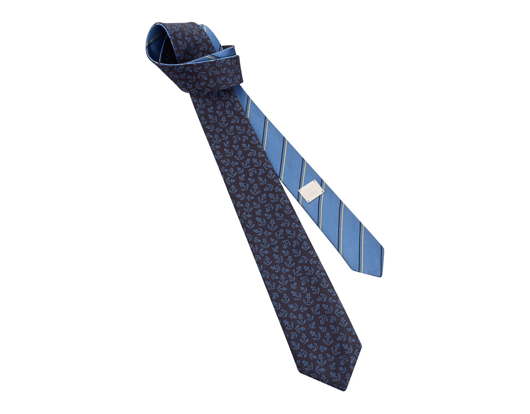 Blue Double Cruise pattern tie in fine silk. 244113 image 1