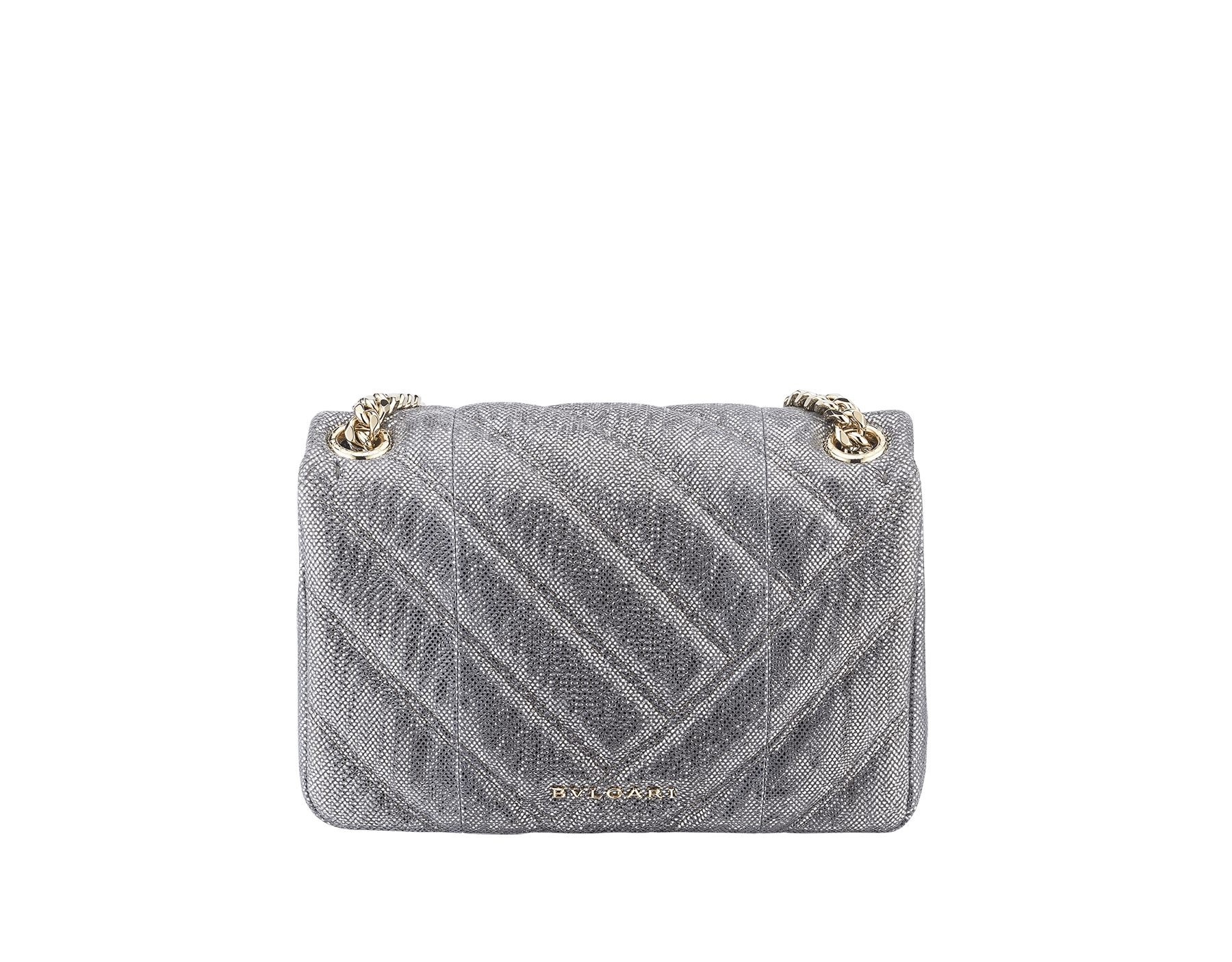 Serpenti Cabochon shoulder bag in soft matelassé charcoal diamond metallic karung skin with graphic motif. Snakehead closure in light gold plated brass decorated with matte black and glitter charcoal diamond enamel, and black onyx eyes. 288617 image 3