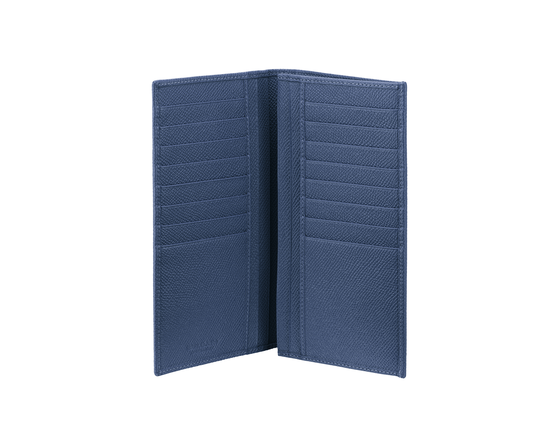 Wallet for yen in denim sapphire grain calf leather with brass palladium plated hardware and iconic BVLGARI BVLGARI motif. 285738 image 2