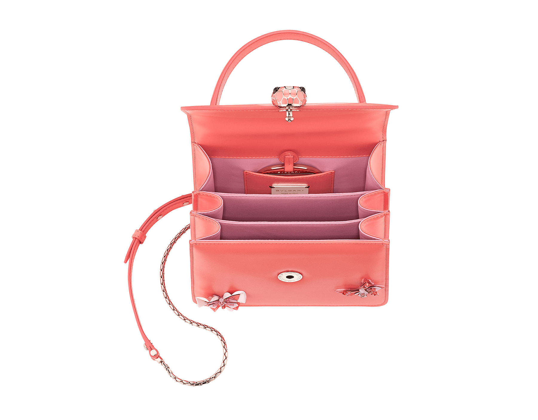 """Serpenti Forever "" crossbody bag in silky coral calf leather with two silky coral butterflies embroidered. Iconic snakehead closure in light gold plated brass enriched with silky coral and white agate enamel and black onyx eyes. 289248 image 4"